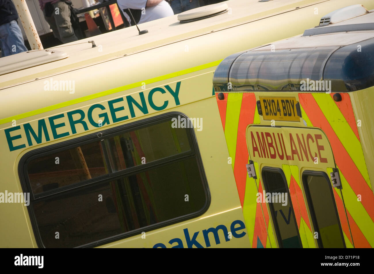 ambulance ambulances accident and emergency a and e service private local hospital medical paramedic paramedics - Stock Image