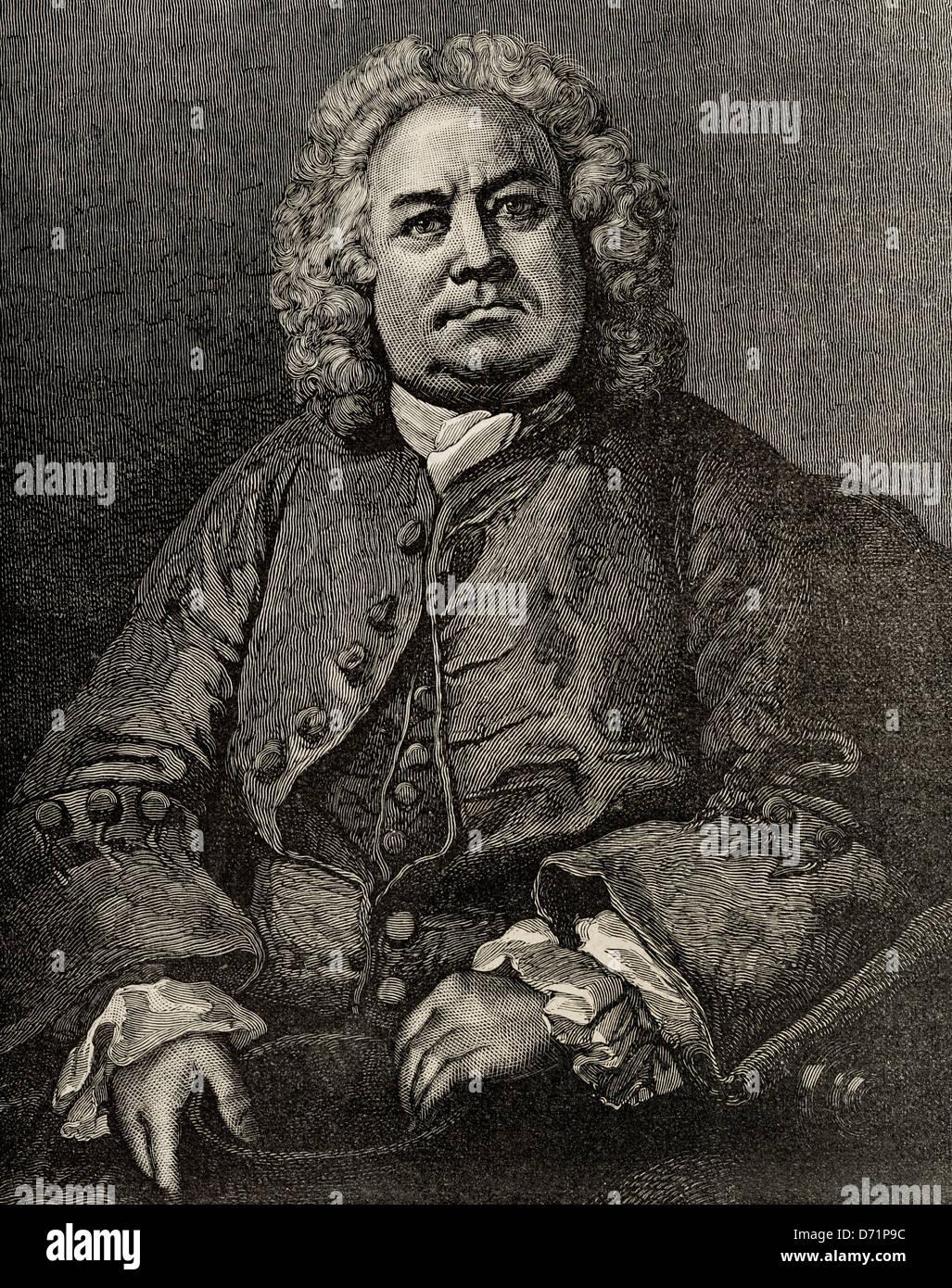 William Hogarth (1697 –1764). English painter, printmaker, pictorial satirist, and engraver. Engraving. Stock Photo