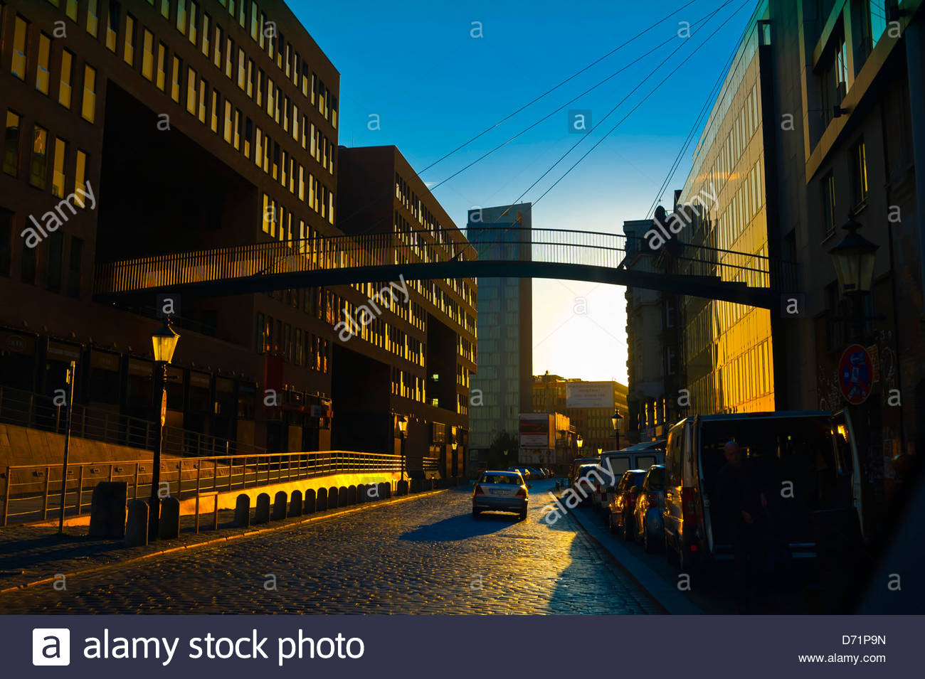Street scene in Hafen City (the harbor along the Elbe RIver), Hamburg, Germany - Stock Image