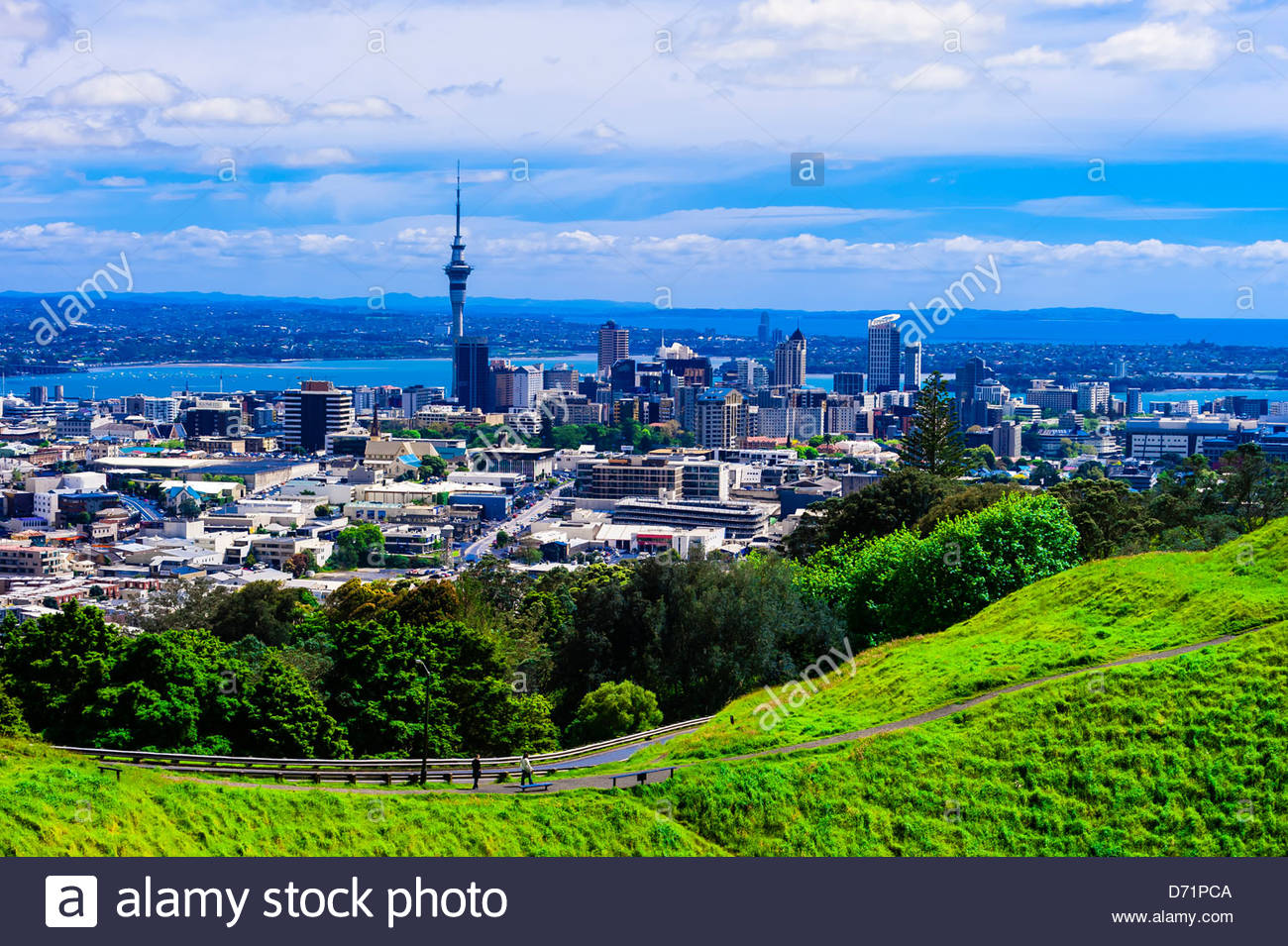 View of the skyline of Auckland, New Zealand (from Mt. Eden), featuring the Sky Tower, the tallest free-standing - Stock Image