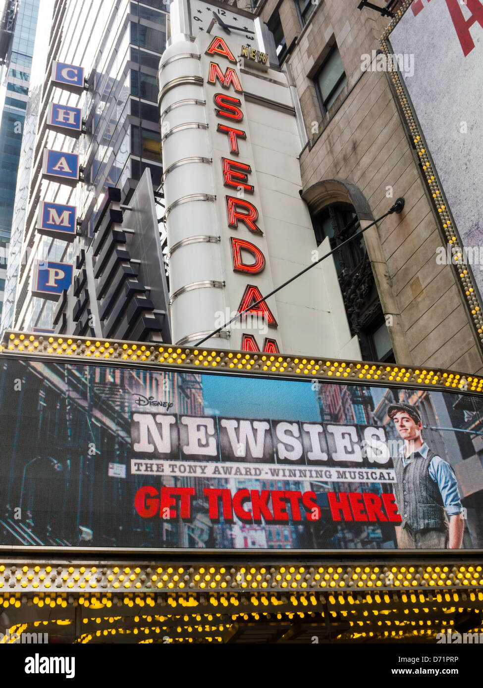 Theater Marquee, New  Amsterdam Theater, Times Square, 42nd Street, NYC - Stock Image