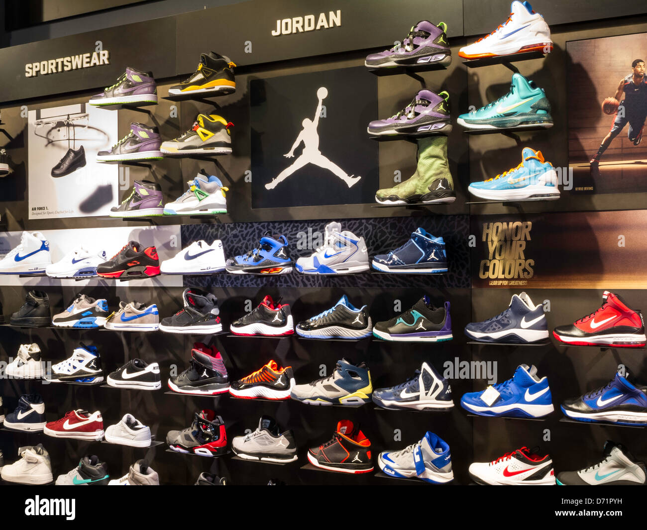 Athletic Footwear Wall, Modell's Sporting Goods Store ...
