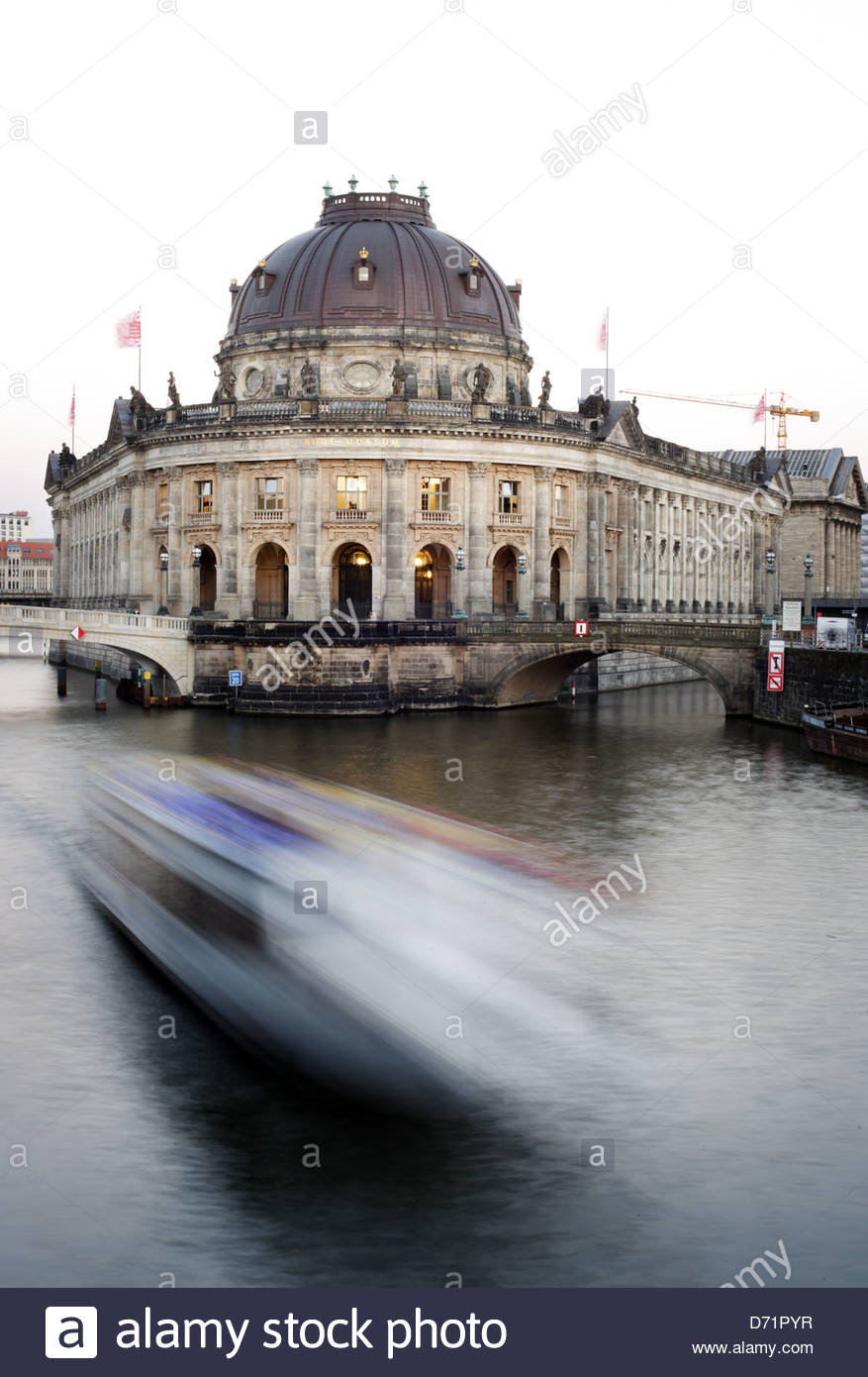 Museum at riverbank, Bode Museum, Museum Island, Berlin, Germany - Stock Image