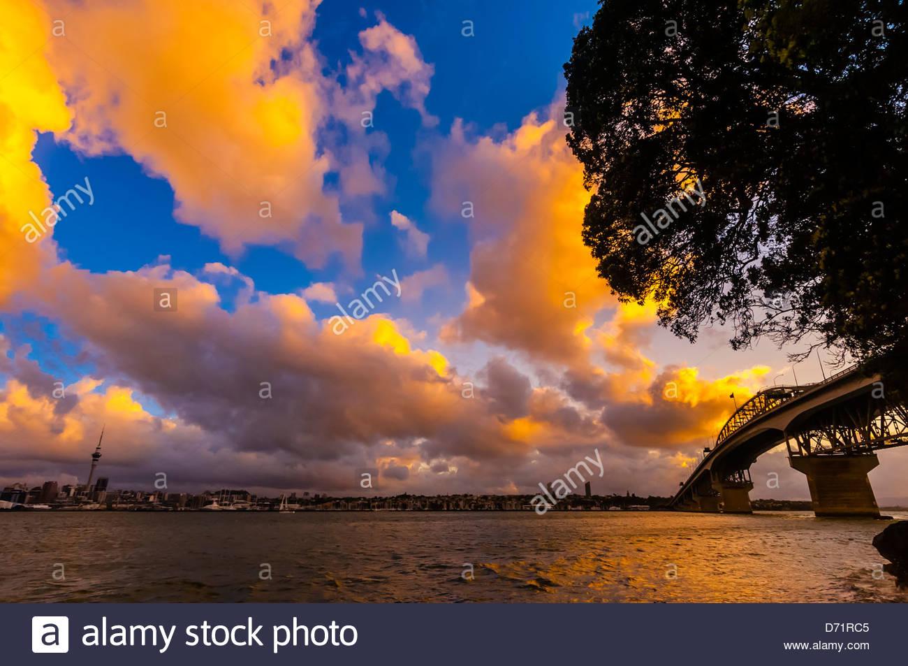 Auckland Harbour Bridge, Auckland, New Zealand - Stock Image