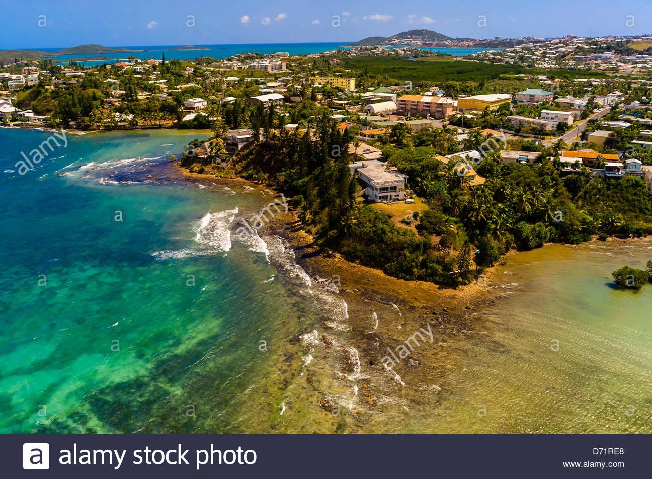 Aerial View, Coastline, Noumea, Grand Terre, New Caledonia - Stock Image