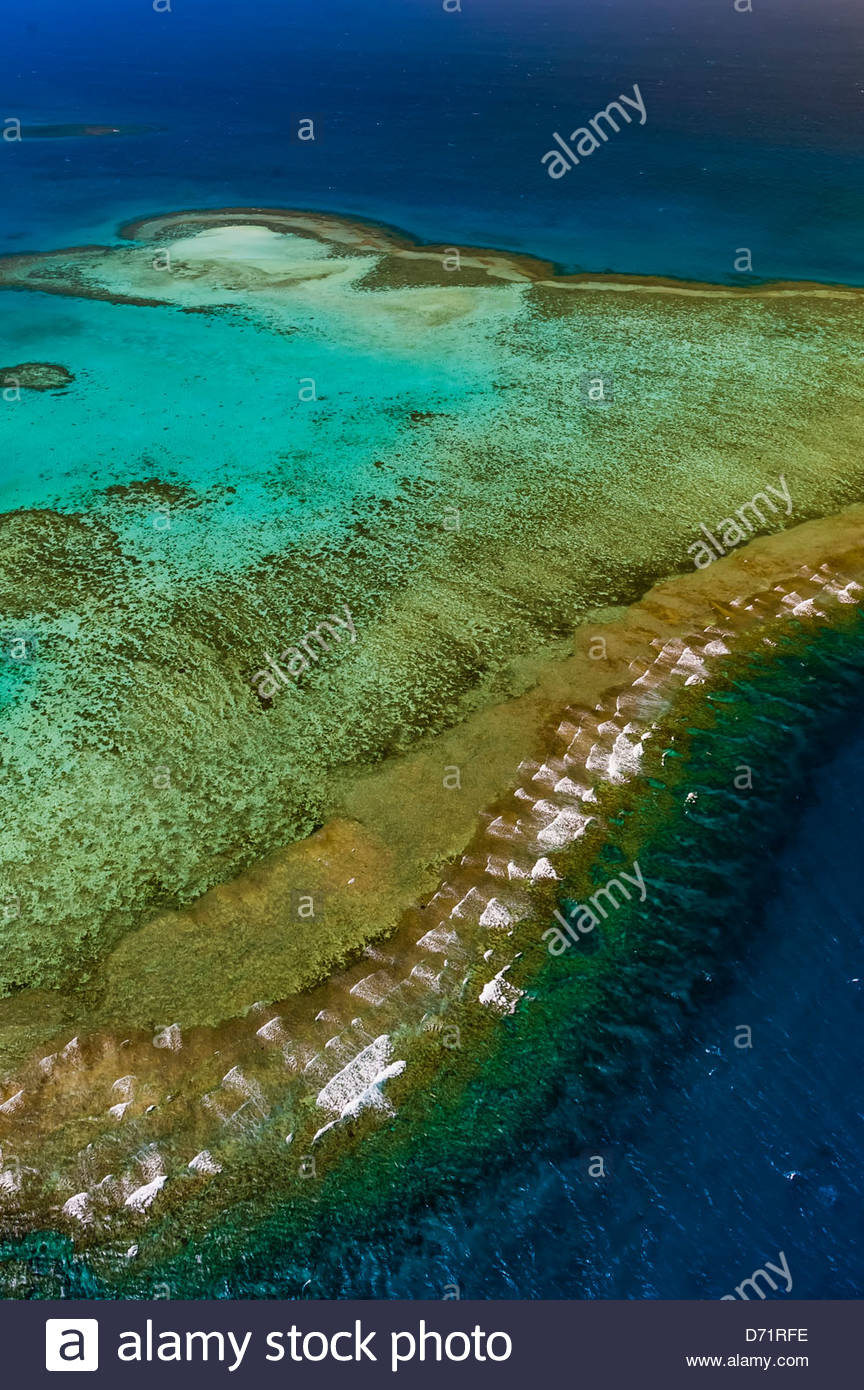 Aerial view, New Caledonia Barrier Reef (a UNESCO World Heritage site), near Noumea, New Caledonia - Stock Image
