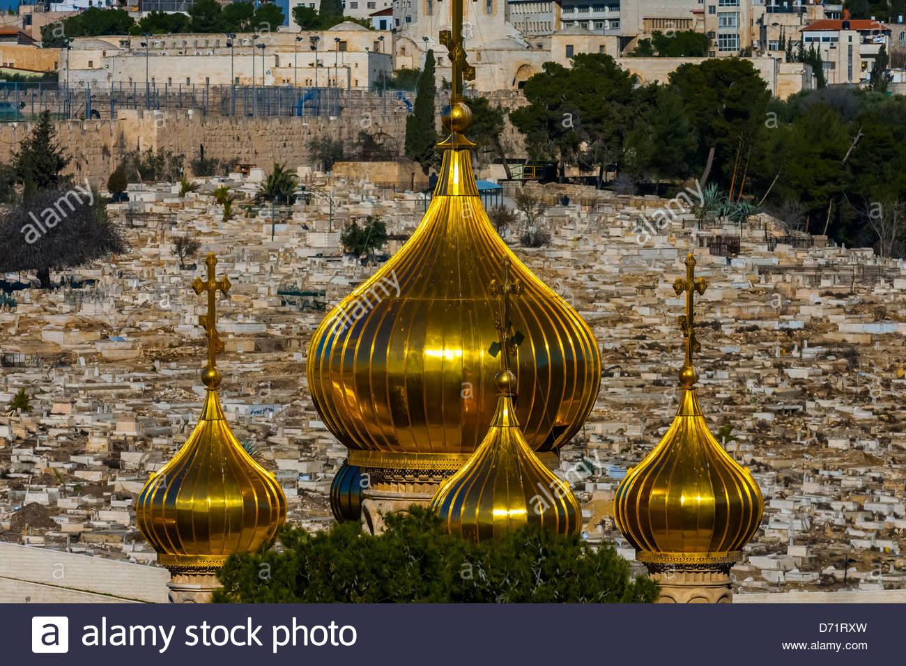 Russian Orthodox Church of Maria Magdelene, Mount of Olives, Jerusalem, Israel. - Stock Image