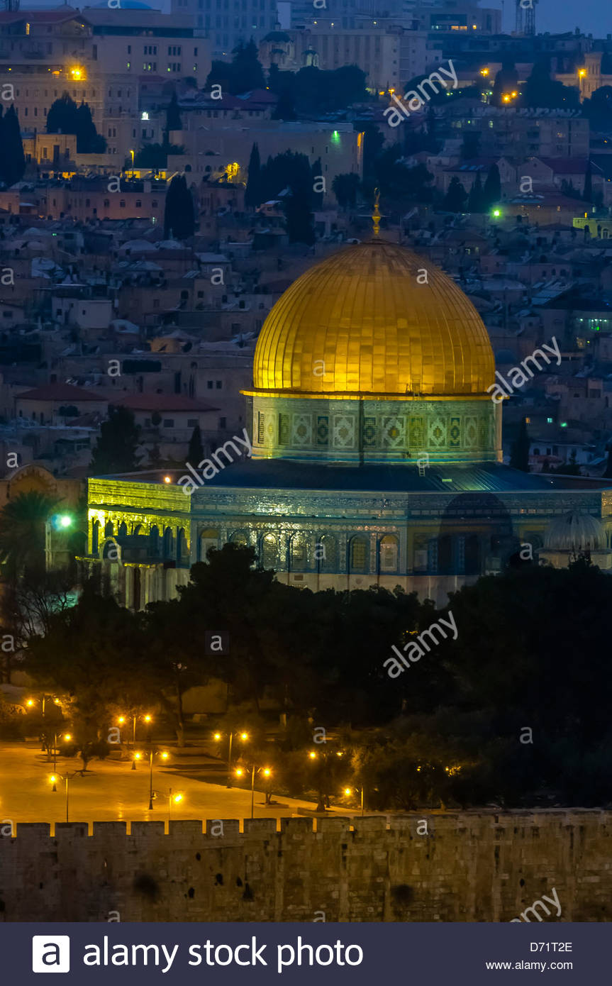 The Dome of the Rock on the Temple Mount illuminated at twilight, Jerusalem, Israel Stock Photo