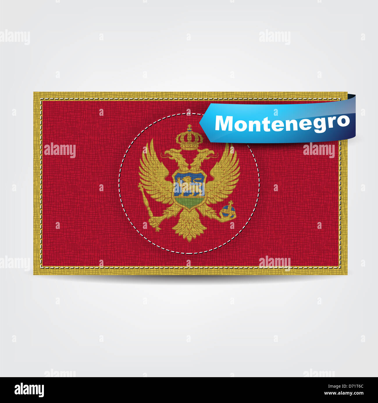 Fabric texture of the flag of Montenegro with a blue bow. Stock Photo