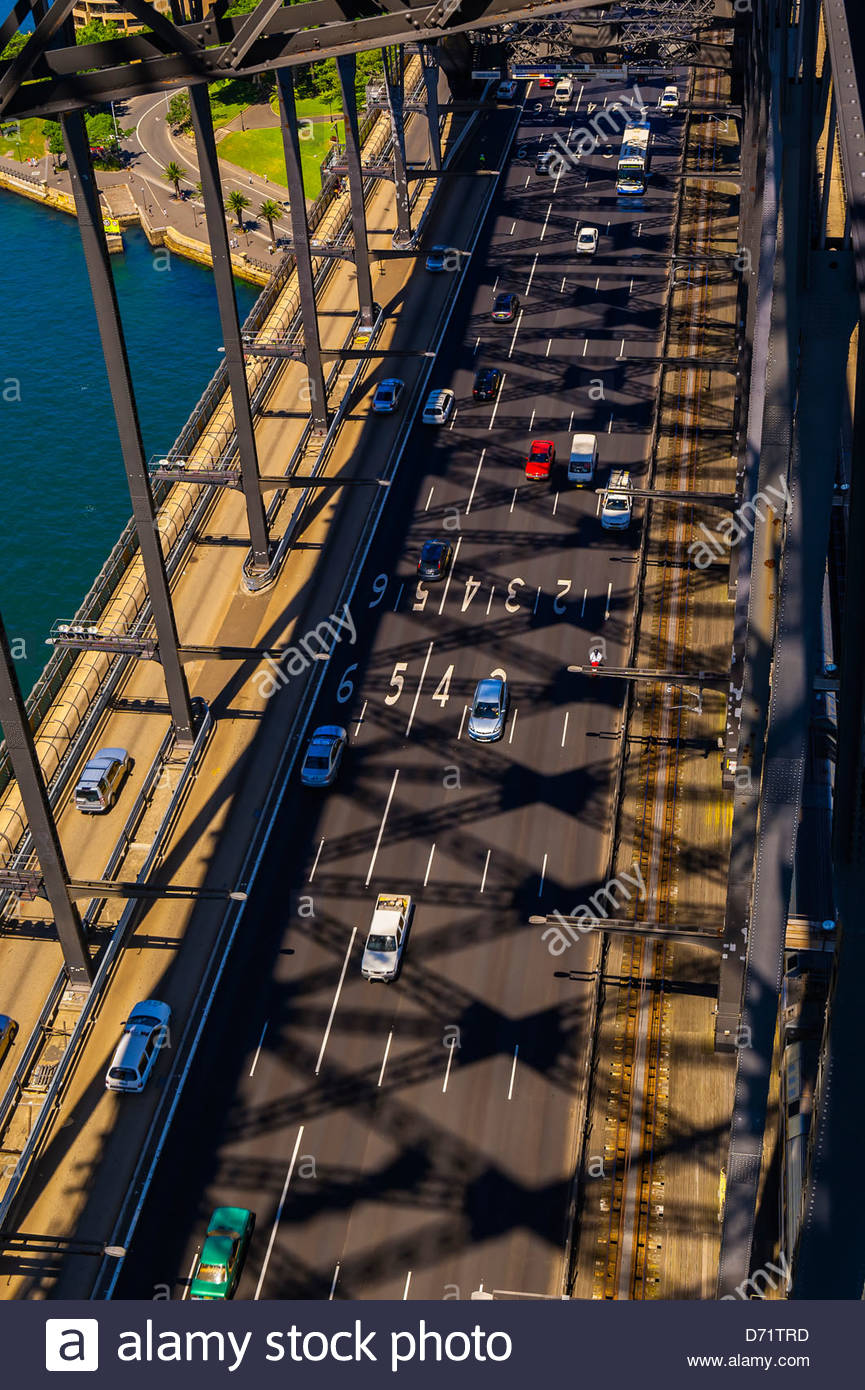Overview of traffic on the Sydney Harbour Bridge (seen from the top of the bridge), Sydney, New South Wales, Australia - Stock Image