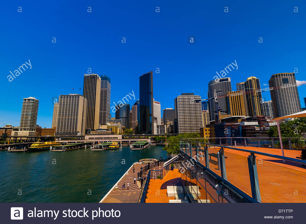 View of Circular Quay from the top of the Overseas Passenger Terminal (where cruise ships dock), Sydney, New South - Stock Image