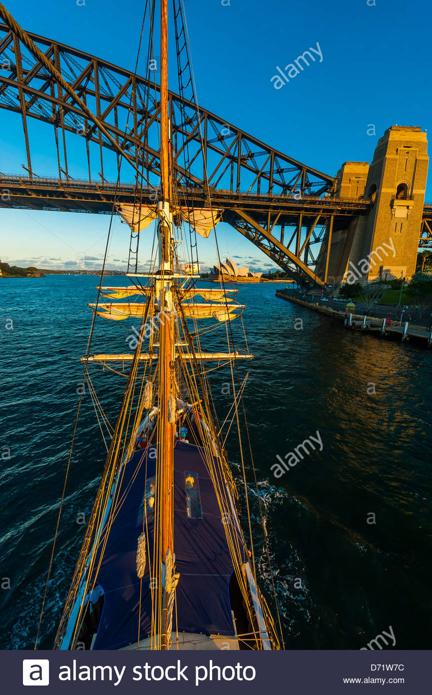 View of the Sydney Harbour Bridge and the Sydney Opera House from the mast of the tall ship 'Southern Swan', - Stock Image