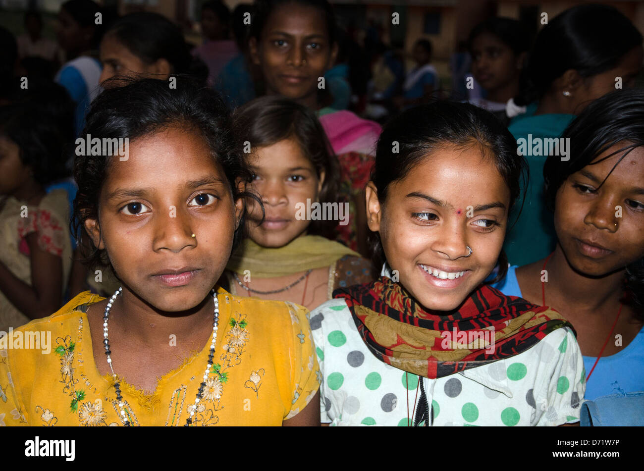 schoolchildren,girls,tala junior high school,madhya pradesh,india - Stock Image