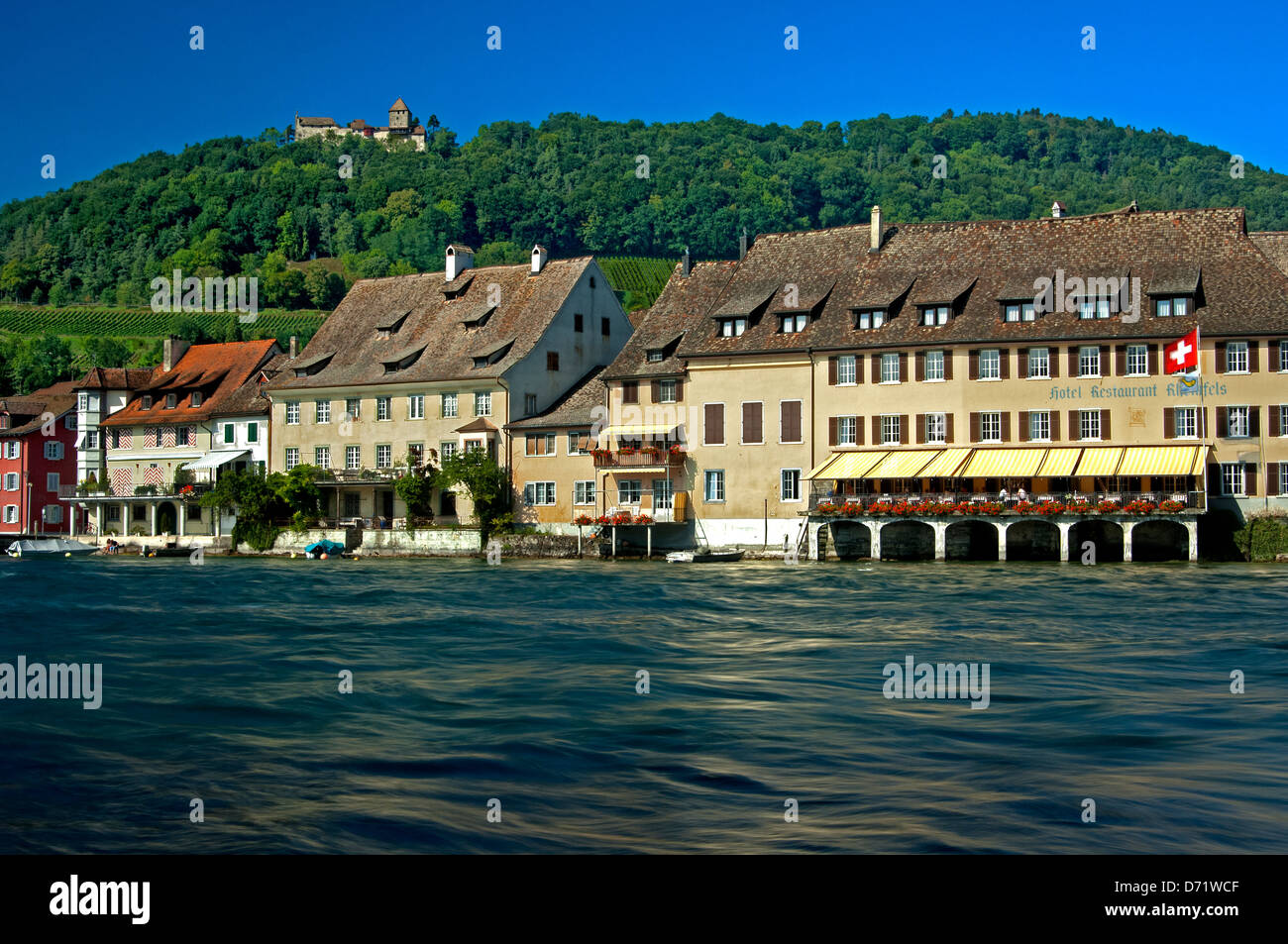 View across the Rhine river at the town of Stein am Rhein beneath the castle Hohenklingen, canton of Schaffhausen, Stock Photo