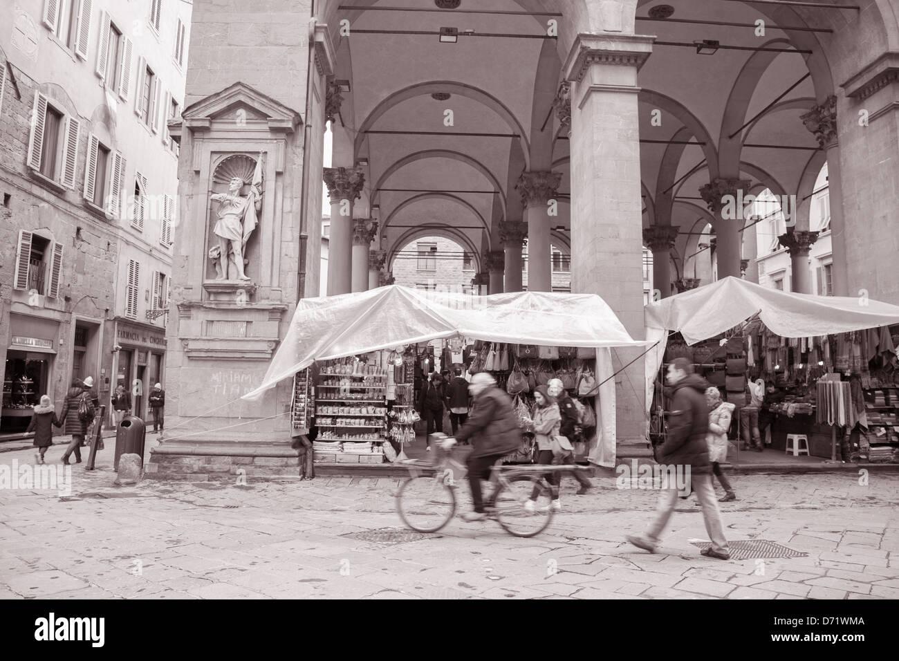 Mercato Nuovo - New Market, Florence; Italy in Black and White Sepia Tone - Stock Image