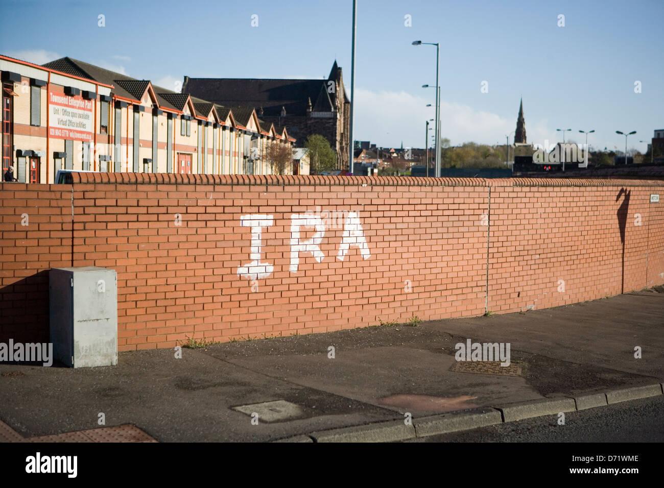 Anti-Thatcher Graffiti on the Falls Rd,  IRA Stock Photo