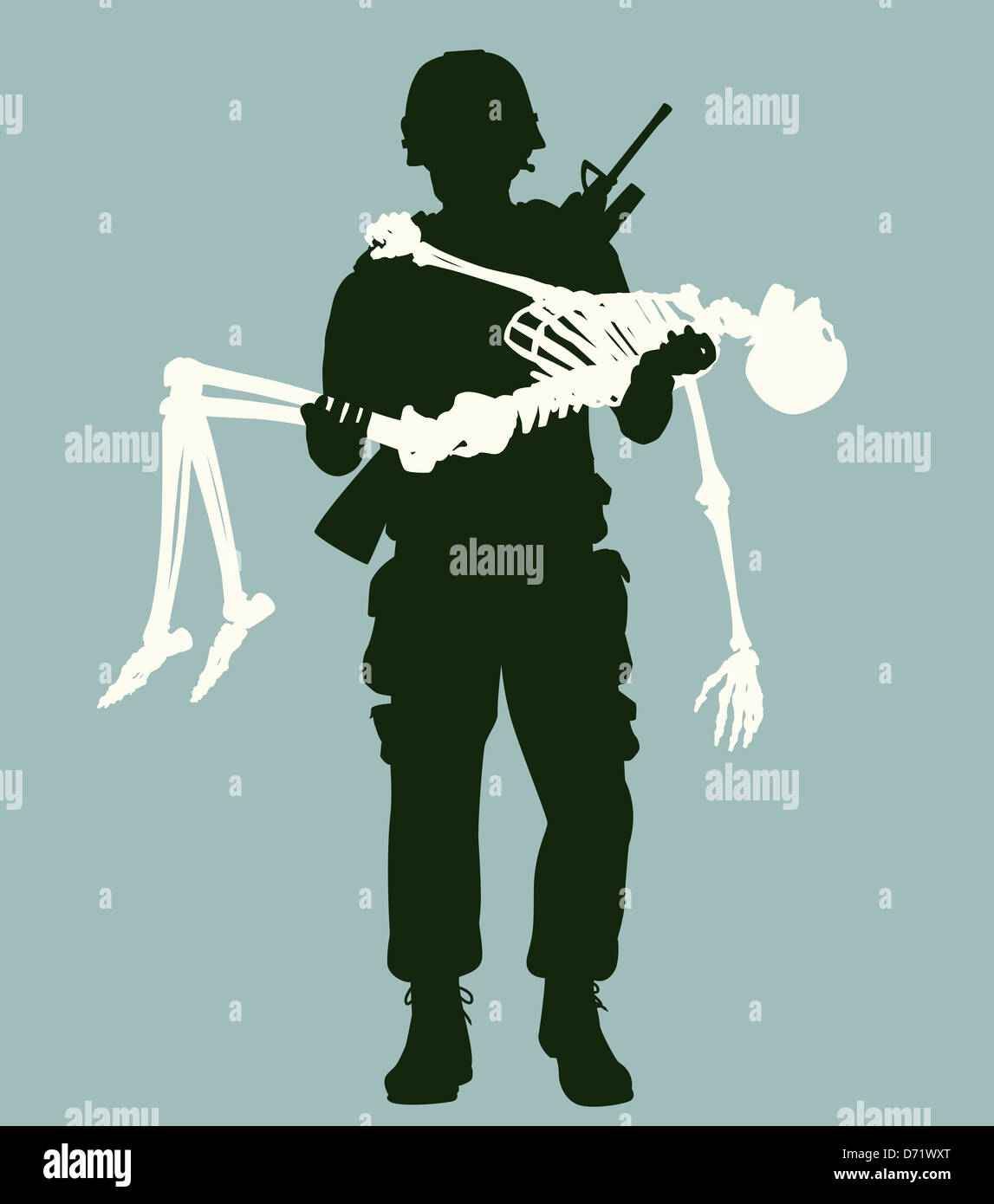 Illustration of a soldier carrying a skeleton in his arms - Stock Image