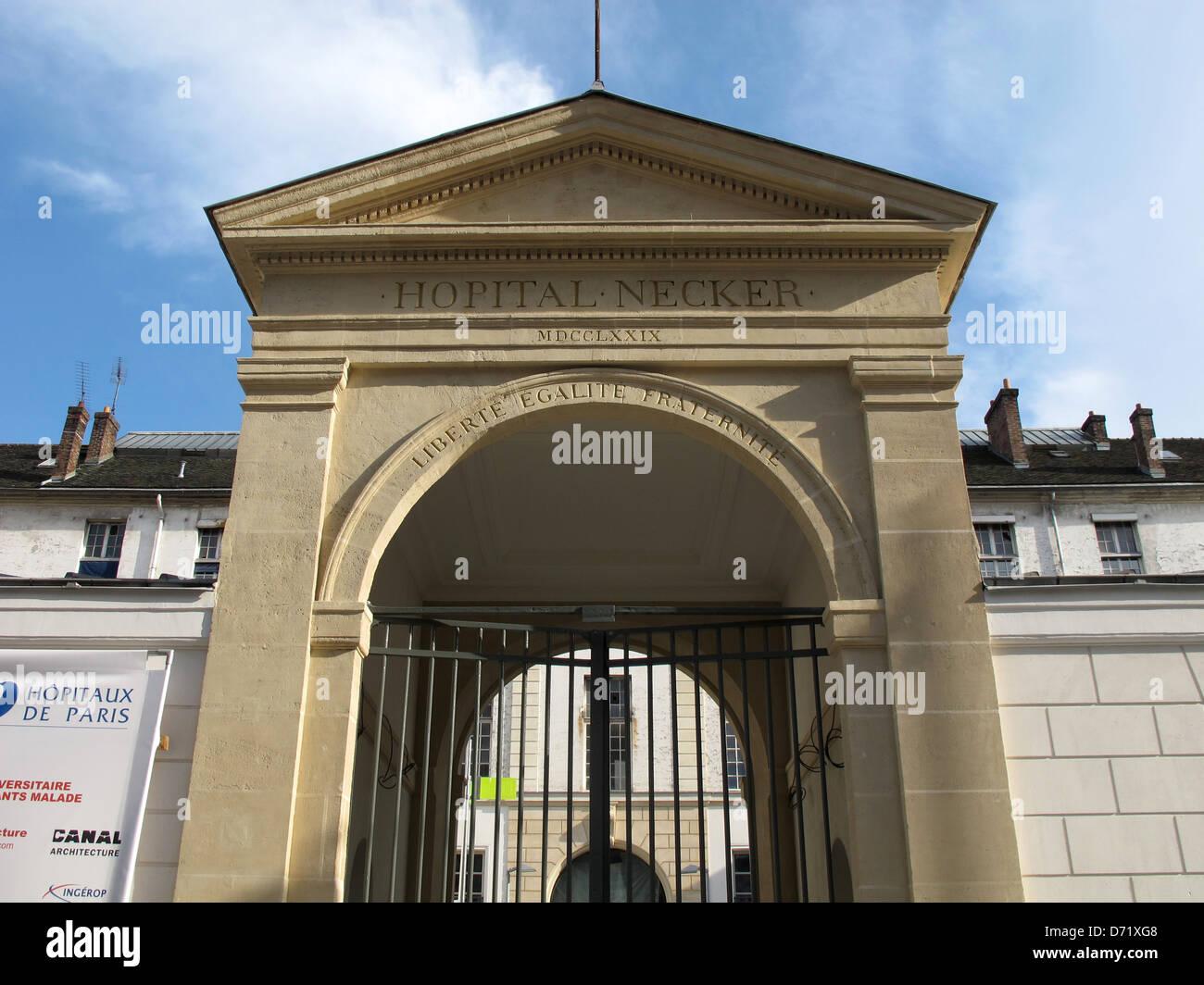 Old entrance of Neker-Enfants Malades Hospital,University of Paris,France,First pediatric hospital in the world Stock Photo