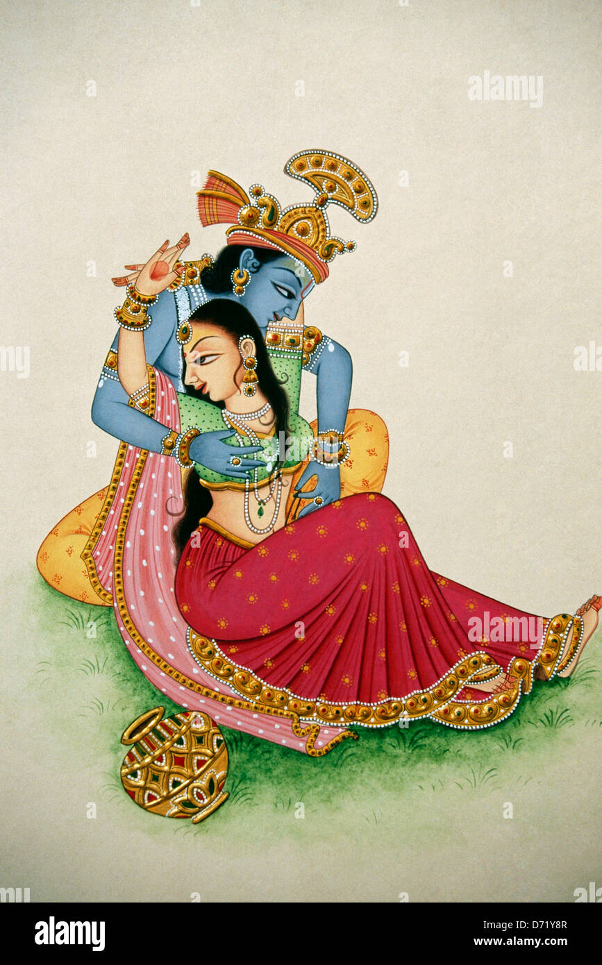 romantic depiction of hindu god krishna and radha painting from india D71Y8R