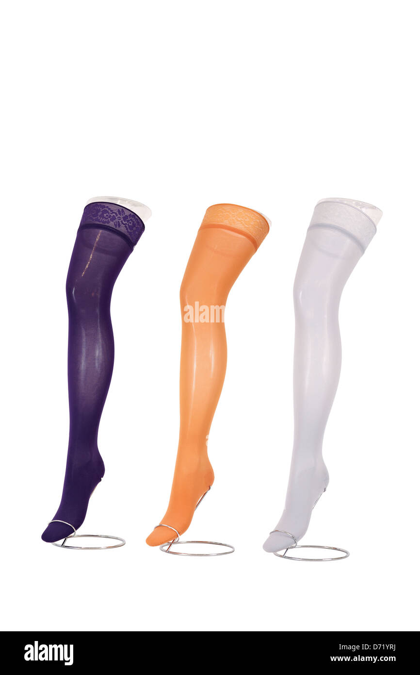 Colorful compression stockings for treating different venous diseases. Medical compression hosiery. Isolated on - Stock Image