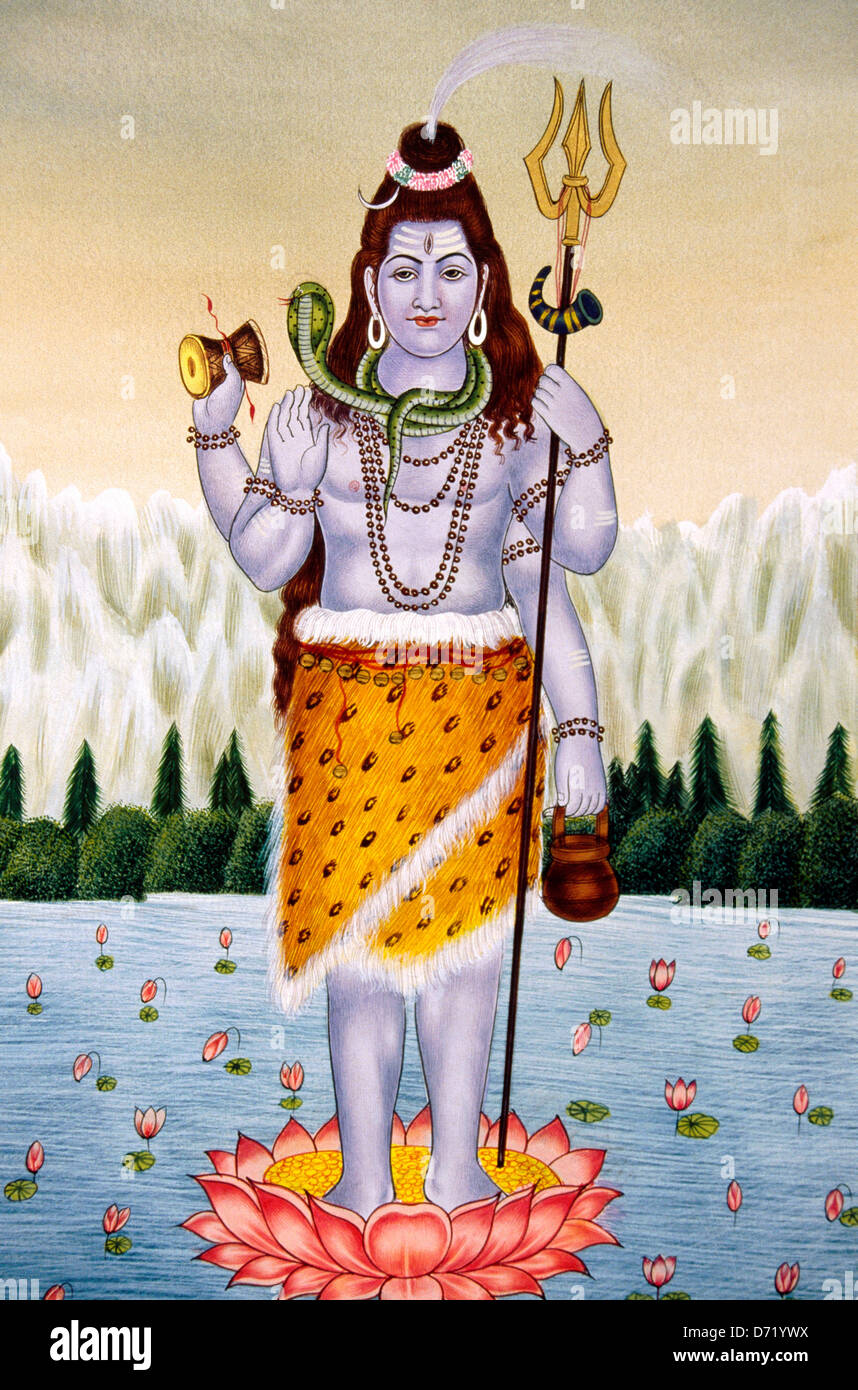 mural painting of hindu god Shiva - Stock Image