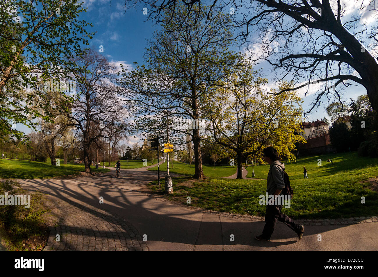 Walk in the park Letna in Prague,  Czech Republic - Stock Image