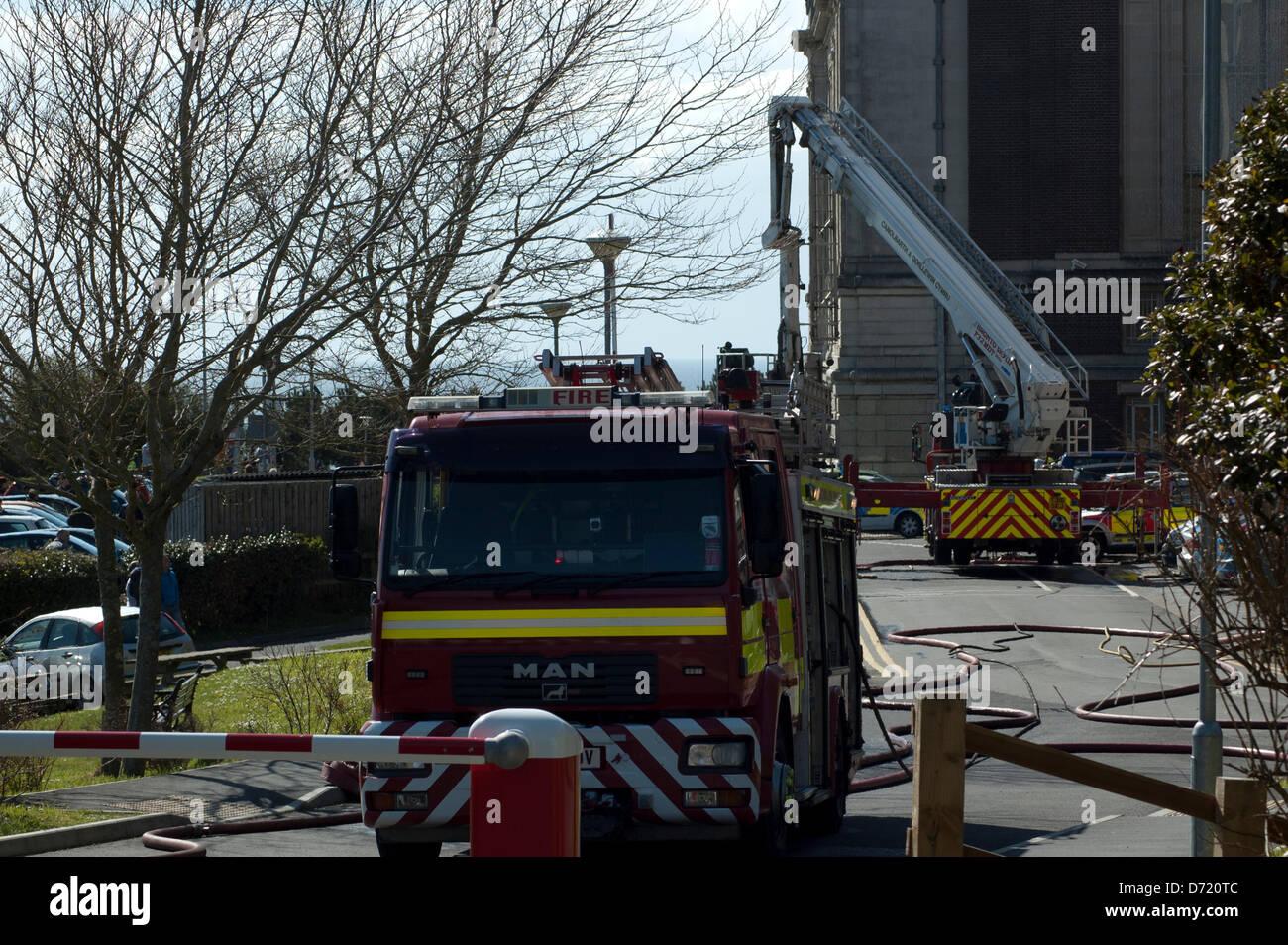 Aberystwyth, Wales, UK. 26th April 2013. Fire crews in attendance to a fire at the rear of the National Library - Stock Image