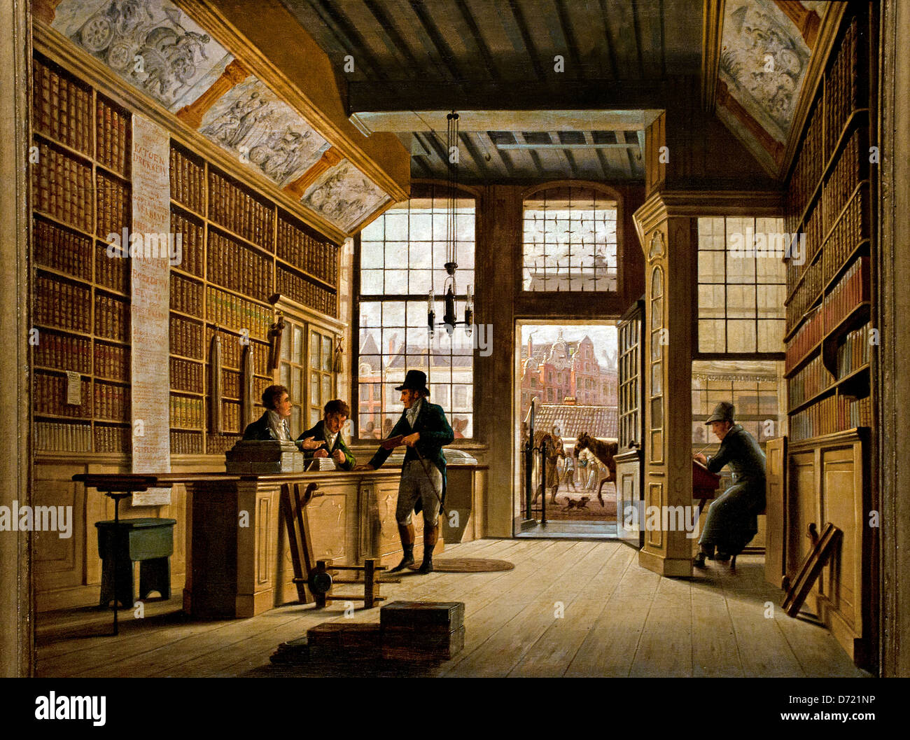 The Shop of  Bookseller Bookdealer  Pieter Meijer Warnars Amsterdam 1820 Johannes Jelgershuis 1770-1836   Dutch - Stock Image