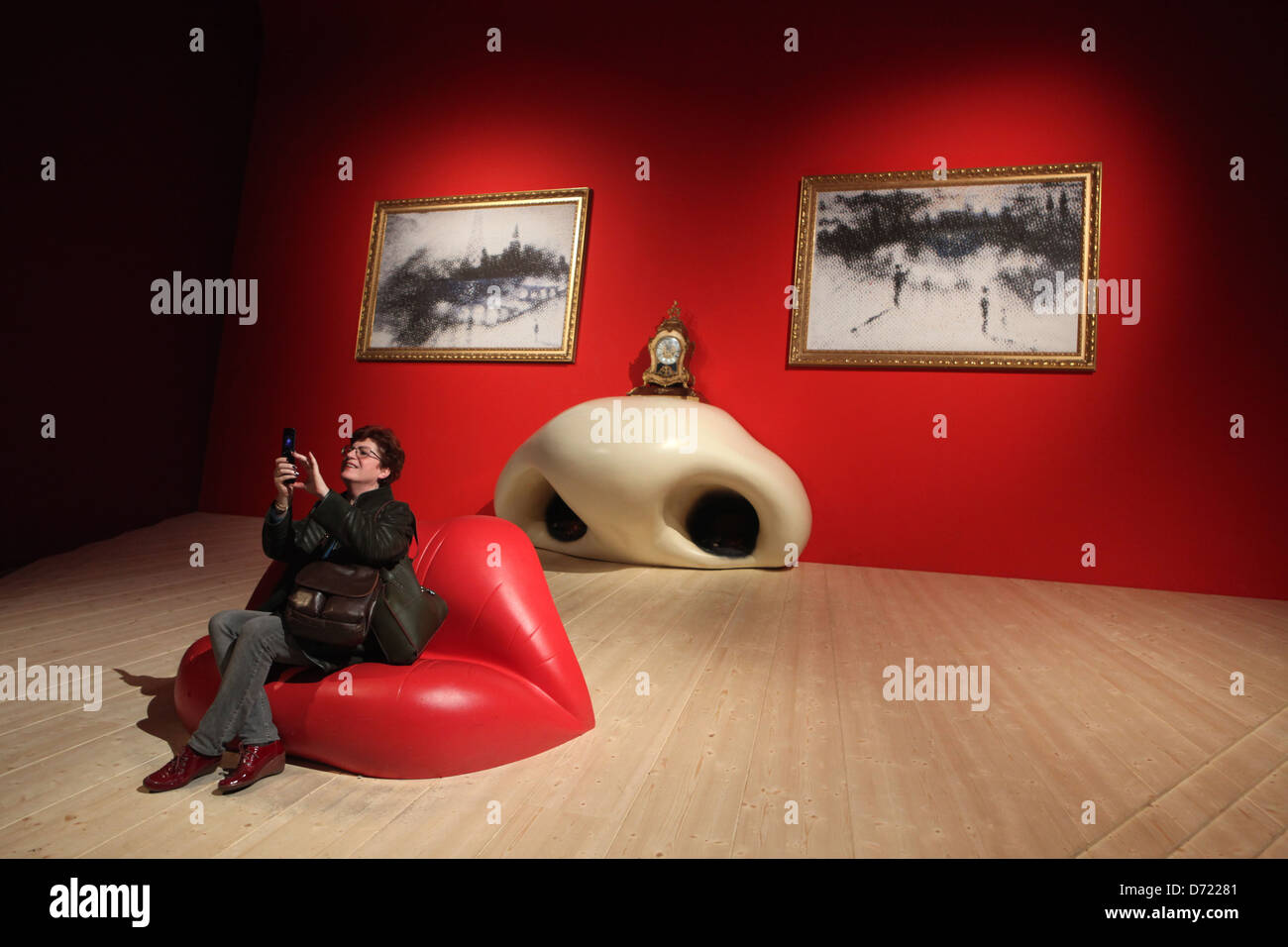 Installation 'Mae West Face' (1934) by Spanish surrealist artist Salvador Dali. - Stock Image