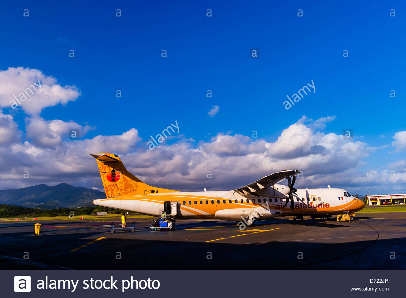 Air Caledonie airplane on tarmac, Noumea Magenta Airport, Noumea, Grand Terre, New Caledonia - Stock Image
