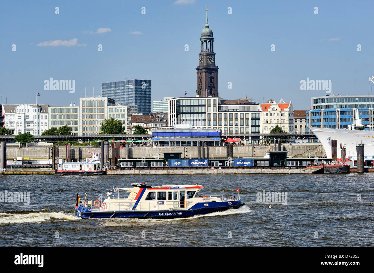 Longboat harbour master in the Hamburg harbour and harbour shore, Hamburg, Germany, Europe - Stock Image