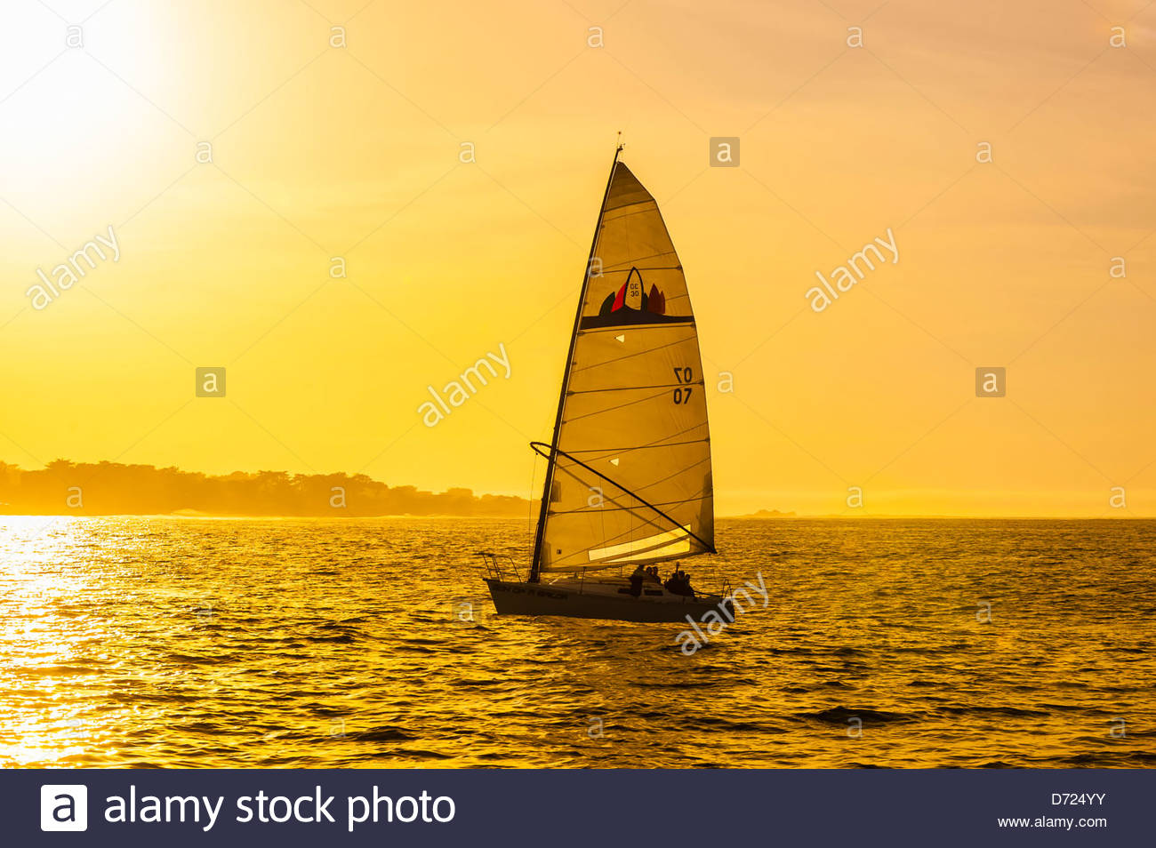 Sailing on Monterey Bay at sunset, Monterey, Monterey County, California USA - Stock Image