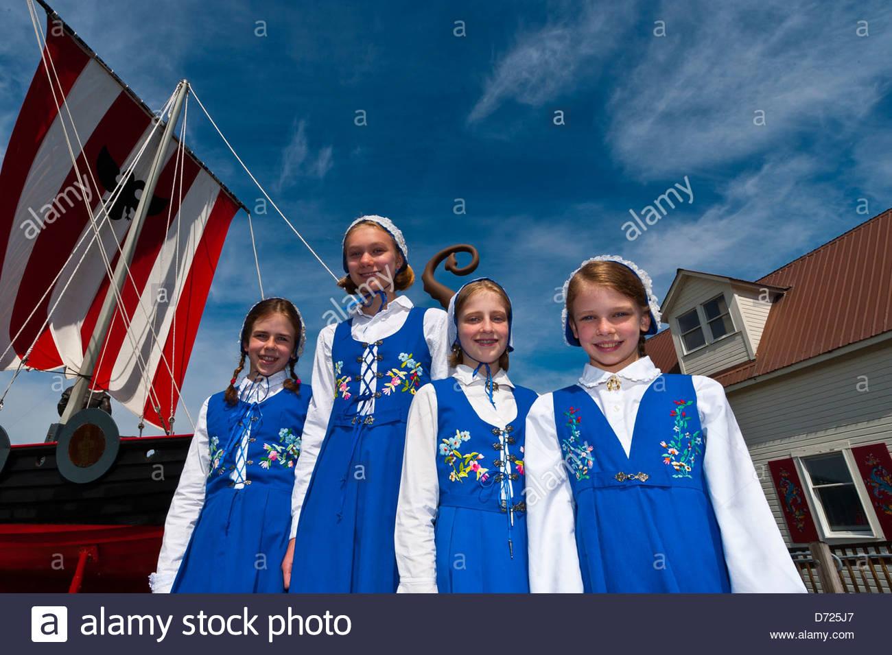 Local girls in Norwegian costume, Sons of Norway Hall, Petersburg, Southeast Alaska USA - Stock Image