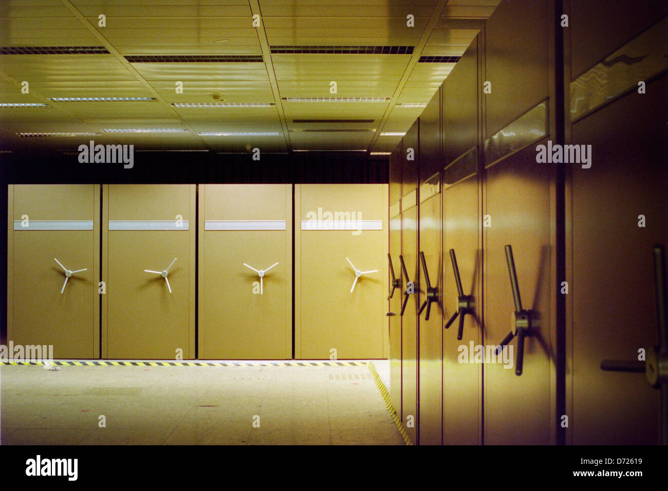 Berlin, Germany, Abhoerstation the U.S. Army, with scrollable archive shelves Stock Photo
