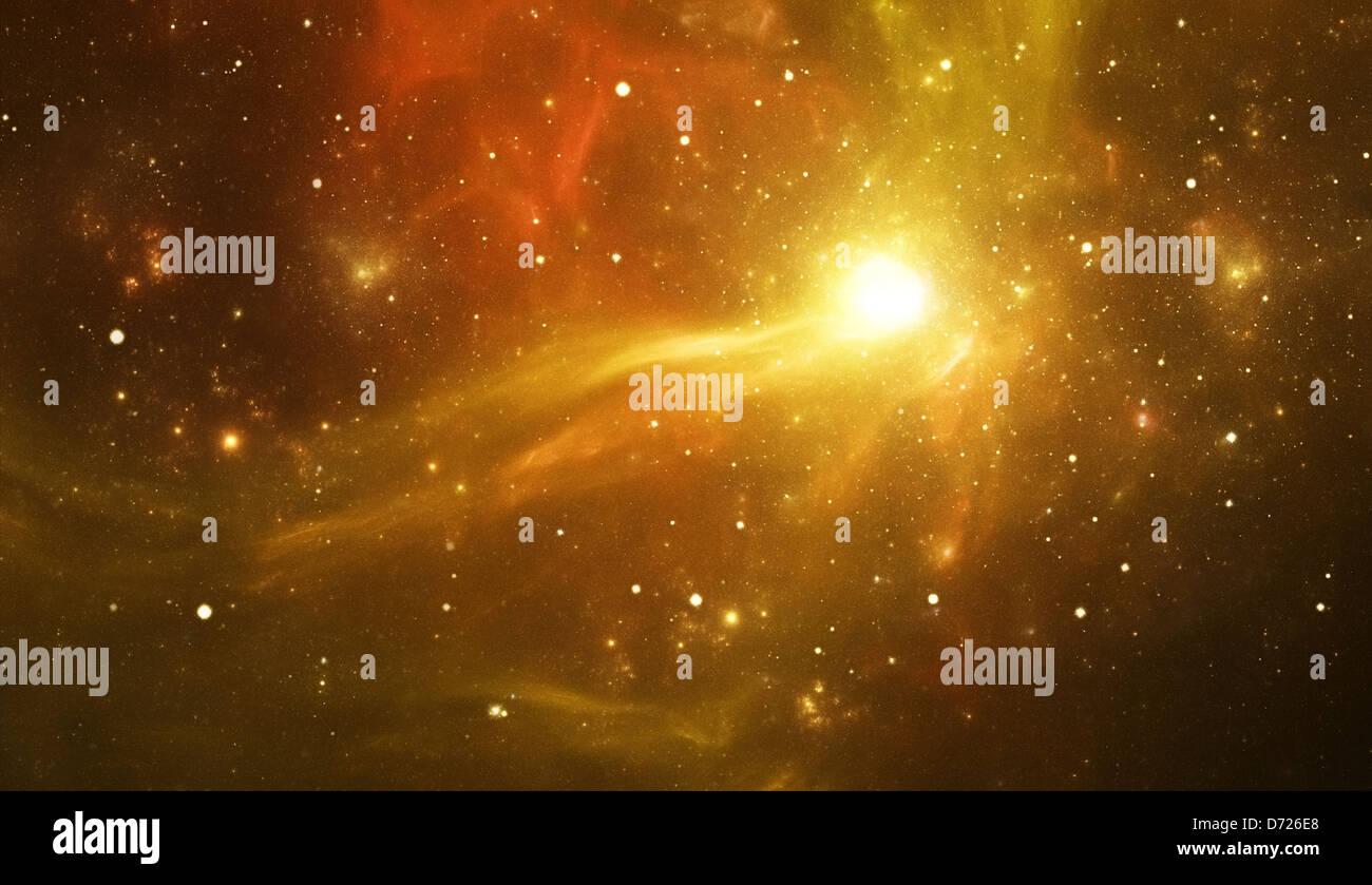 Space galaxy, yellow stars background Stock Photo - Alamy