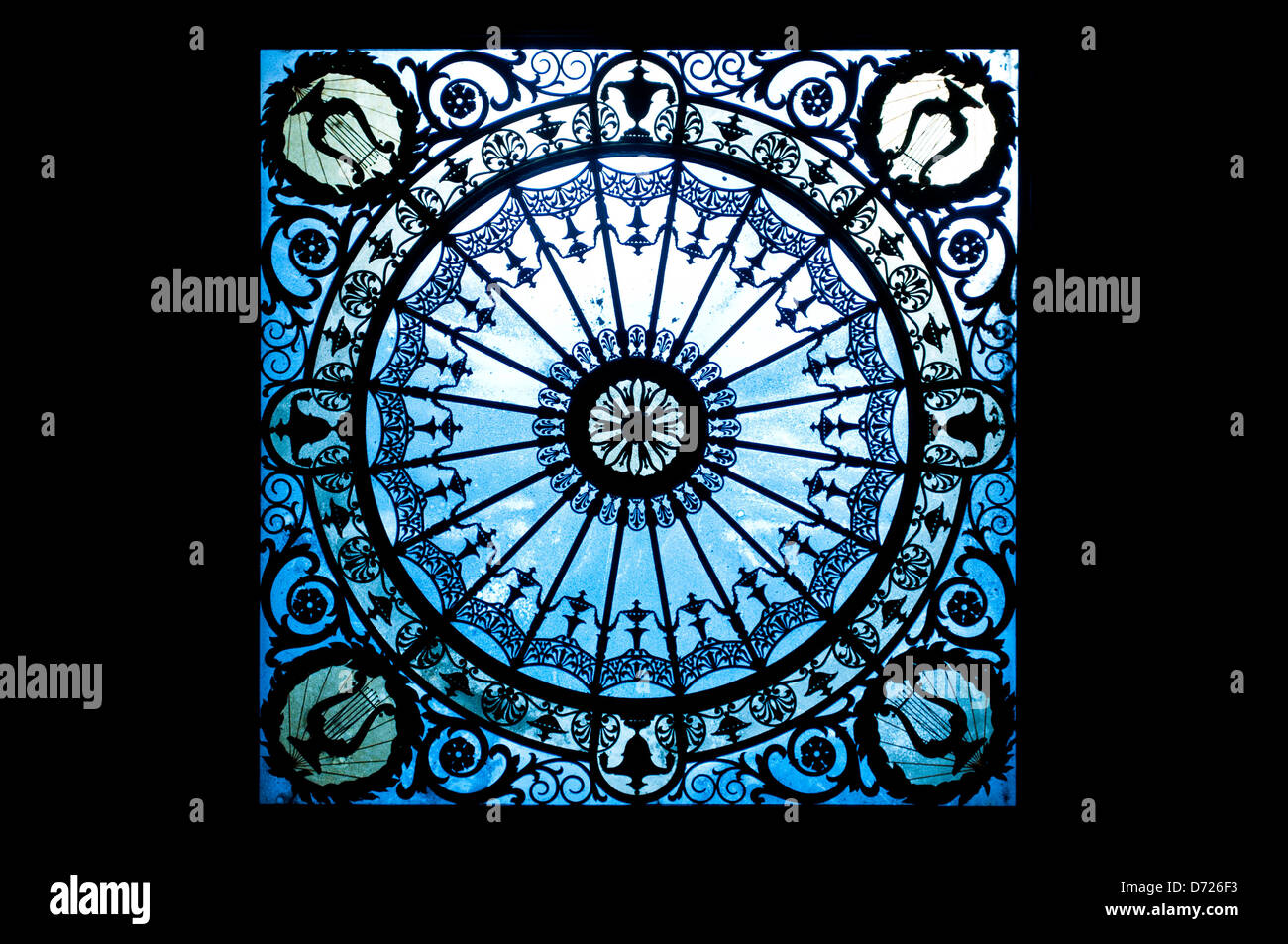 Stained glass ceiling in Gran Teatre del Liceu, Barcelona, Catalonia, Spain - Stock Image