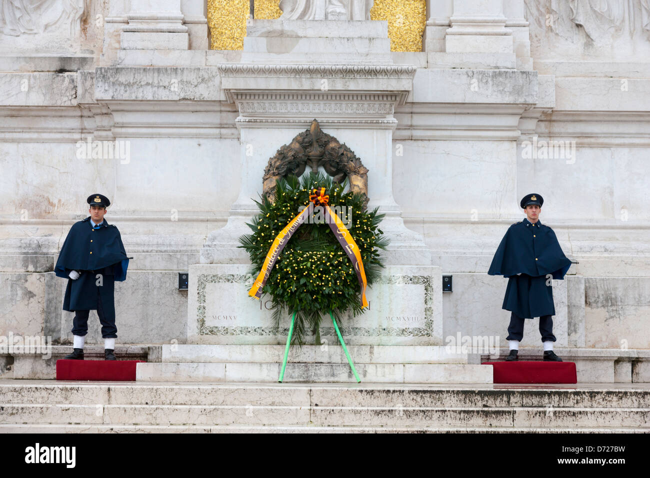 Guards at the Altar of the Fatherland in Rome, Italy - Stock Image