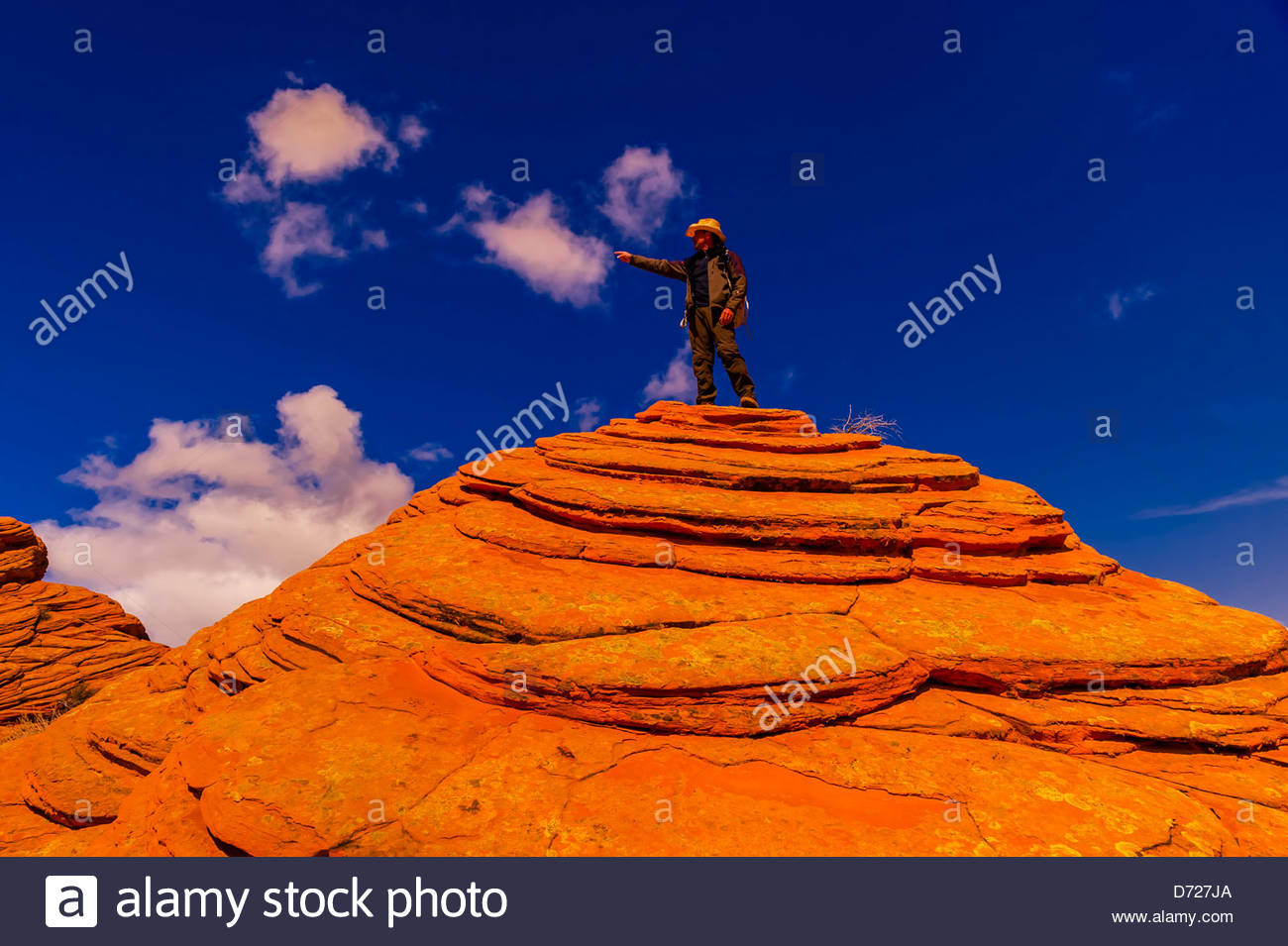 Hiking in Coyote Buttes North, Paria Canyon-Vermillion Cliffs Wilderness Area, Utah-Arizona border, USA Stock Photo