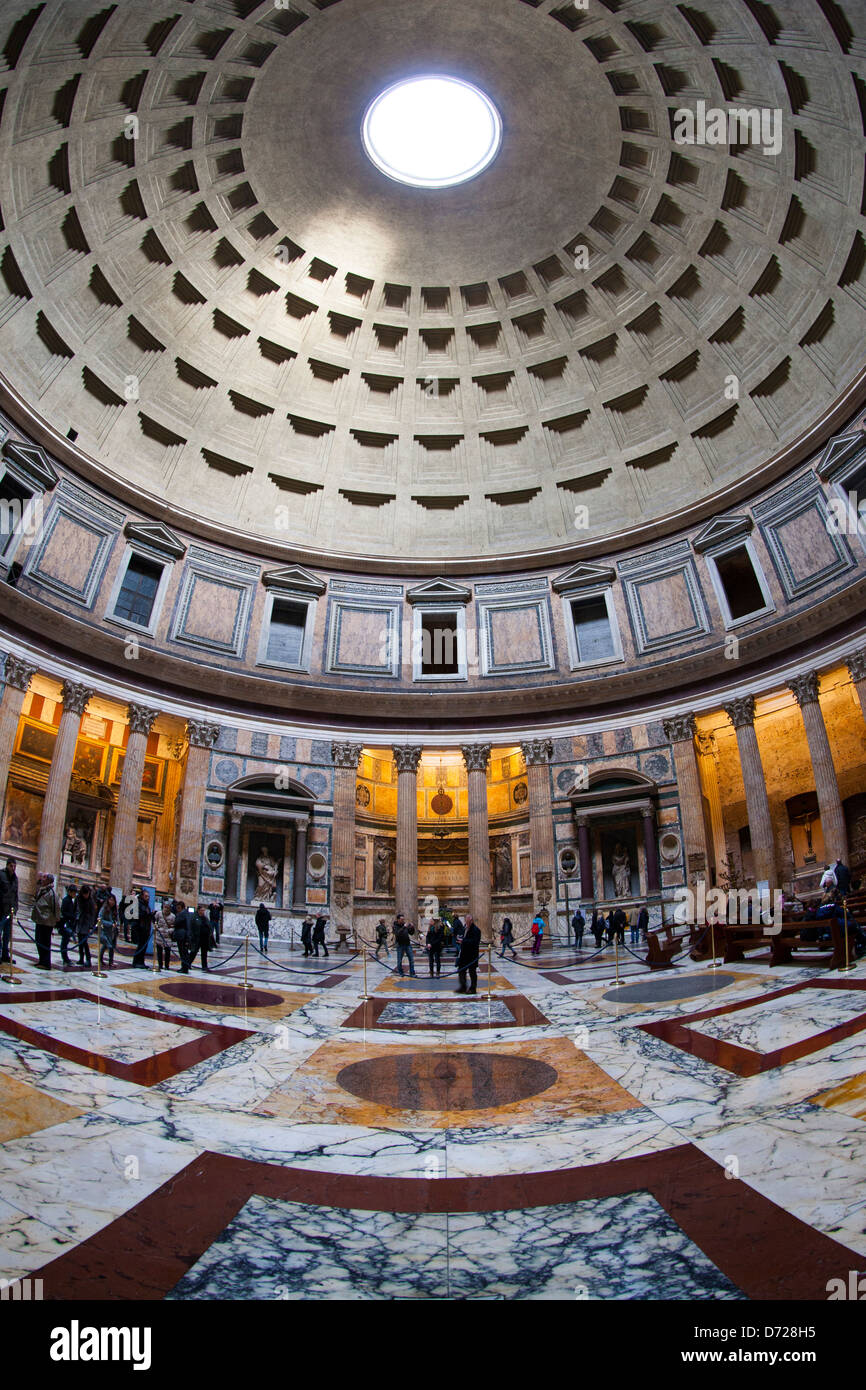 The interior of the Pantheon showing the Roman concrete dome and polished marble floor - Stock Image