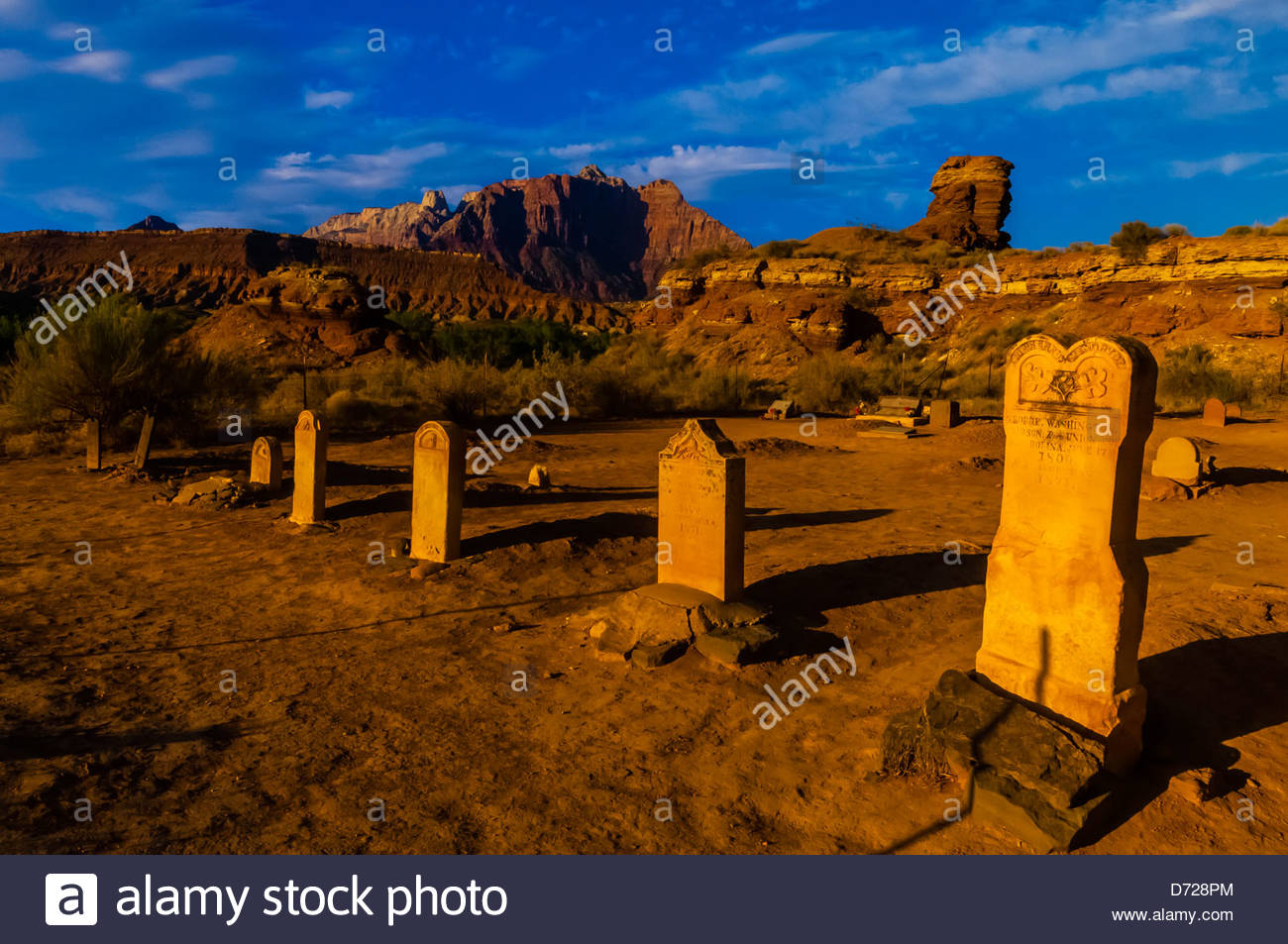 Cemetery in the ghost town of Grafton (settled by Mormon in 1847, the people of the town were killed in January Stock Photo