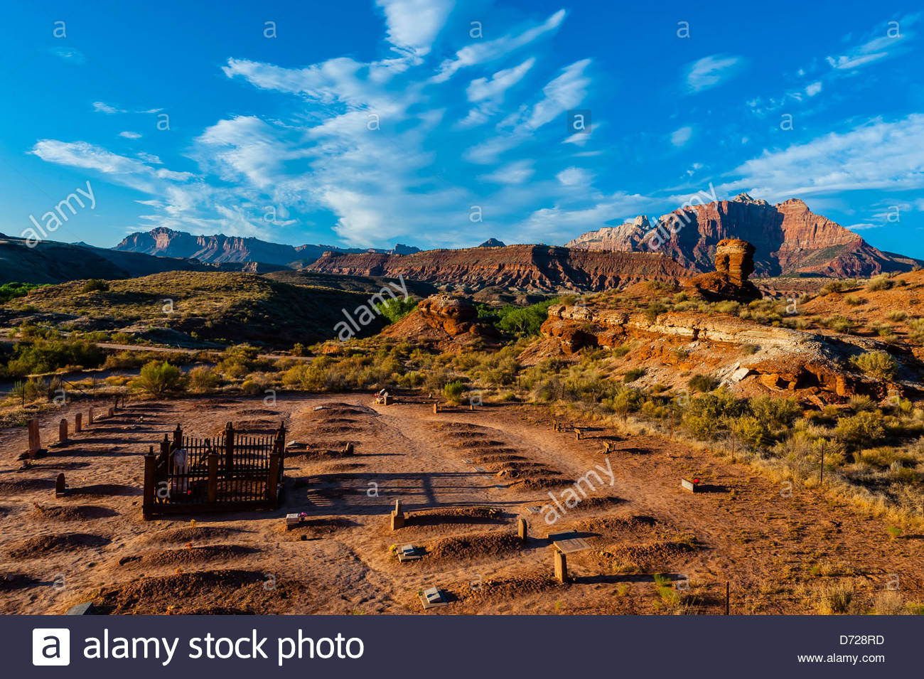 Cemetery in the ghost town of Grafton (settled by Mormon in 1847, the people of the town were killed in January - Stock Image