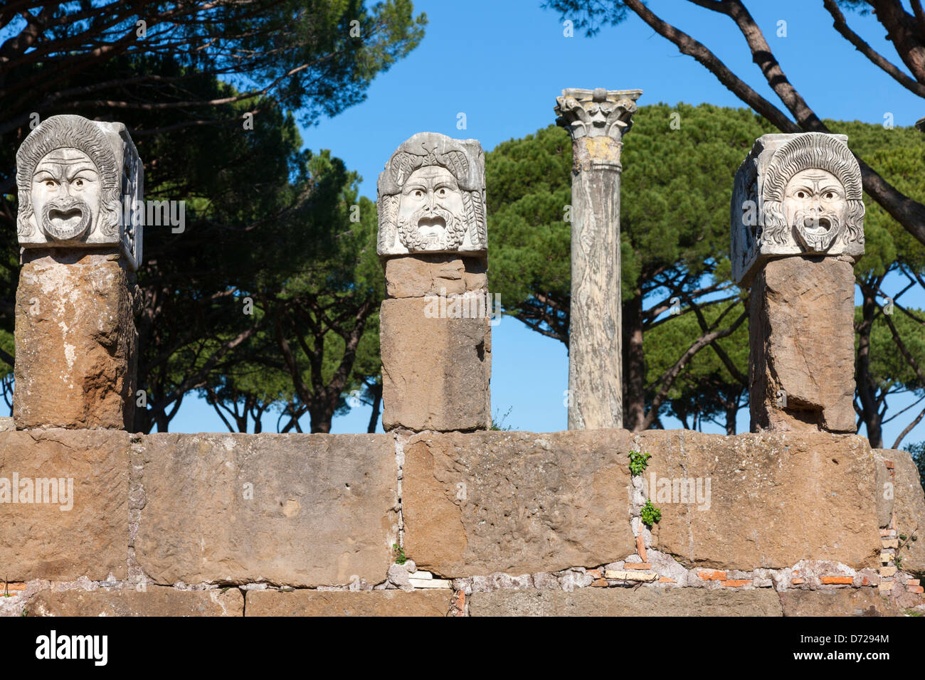 Carved Roman heads in Ostia Antica, Rome, Italy - Stock Image