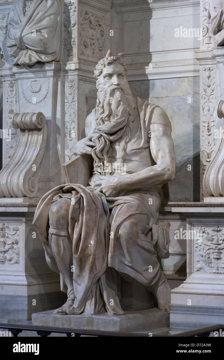 "Michelangelo's ""Moses"" in the church of San Pietro in Vincoli (St. Peter in Chains) Stock Photo"