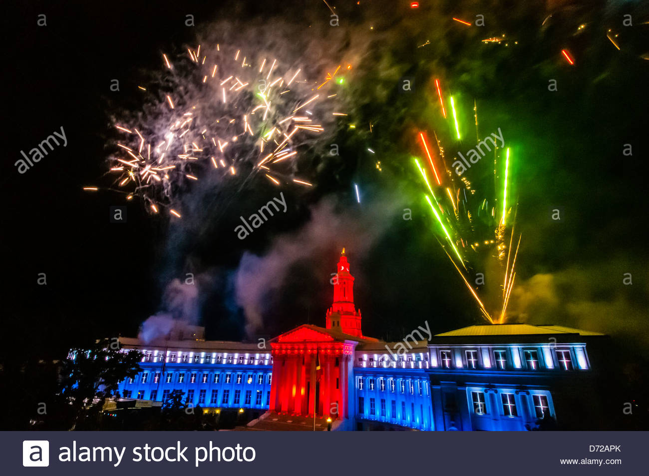 Fireworks above the City and County Building, Independence Eve, Civic Center Park, Denver, Colorado USA - Stock Image