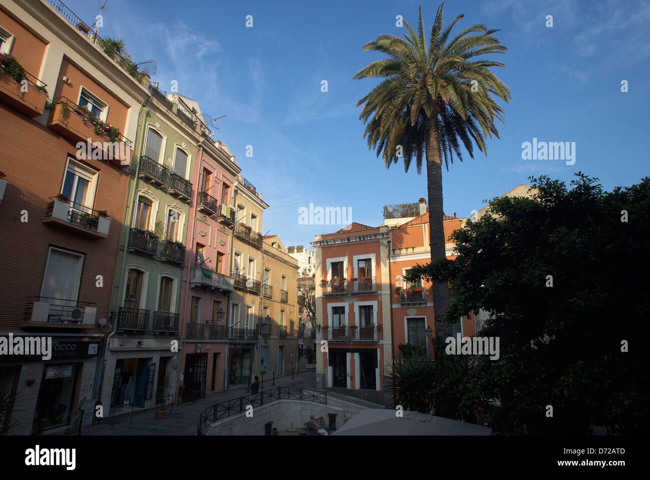 Cagliari Italy Houses In Piazza Savoia In Sardinia Stock
