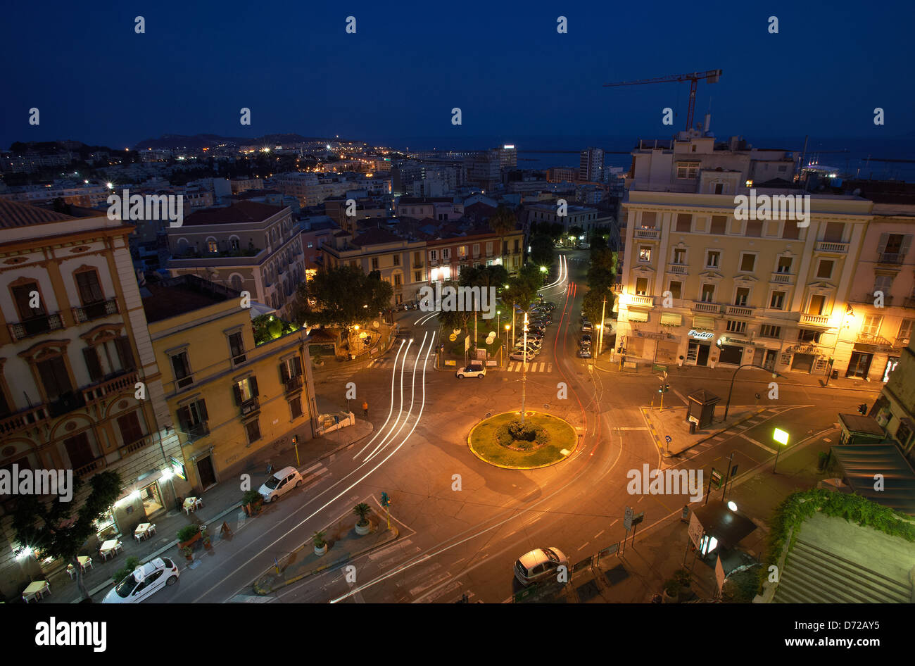 Cagliari, Italy, view from the Terrazza Umberto I in the evening on ...