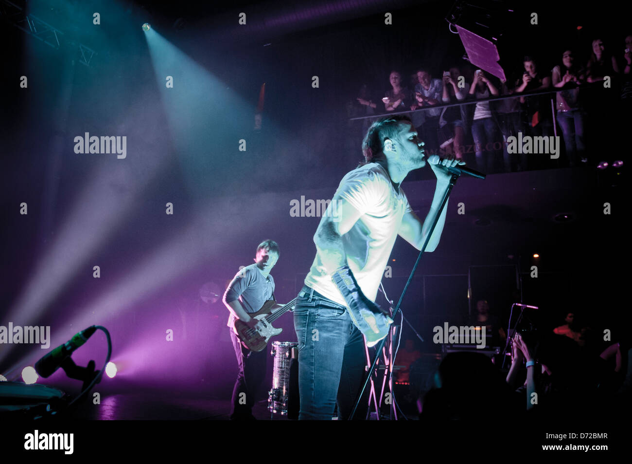 Imagine Dragons with lead singer Dan Reynolds live on Night Visions World Tour, Prague, Sasazu. - Stock Image