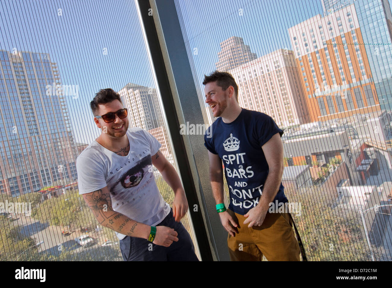Picture Shows :   Rappers Brains McLoud (Gavin Bain) and Silibil (Billy Boyd). Billy (with white top ) and Gavin - Stock Image