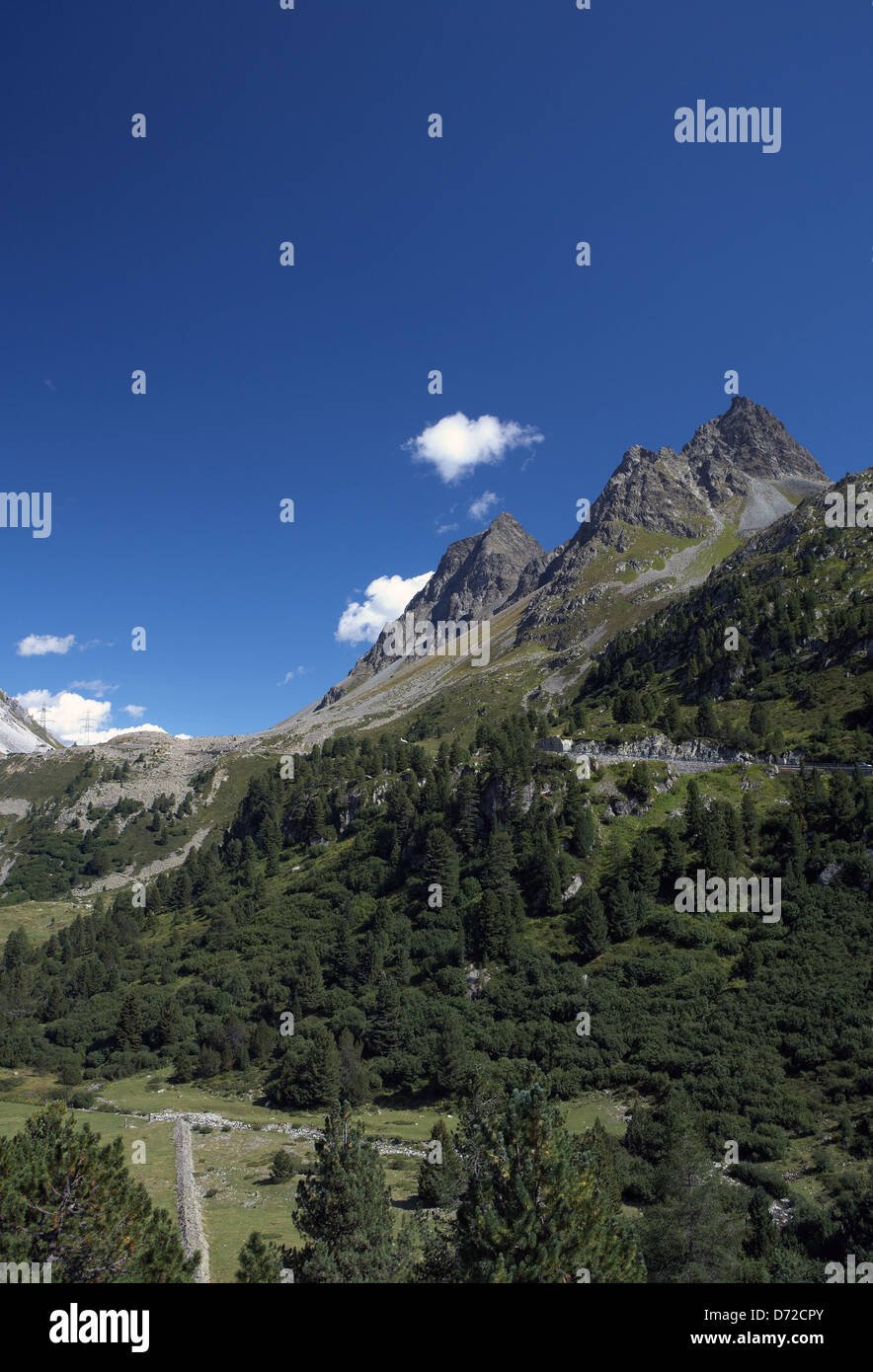 Alp Nova, Switzerland, Albulapass view to the south up to the pass height - Stock Image