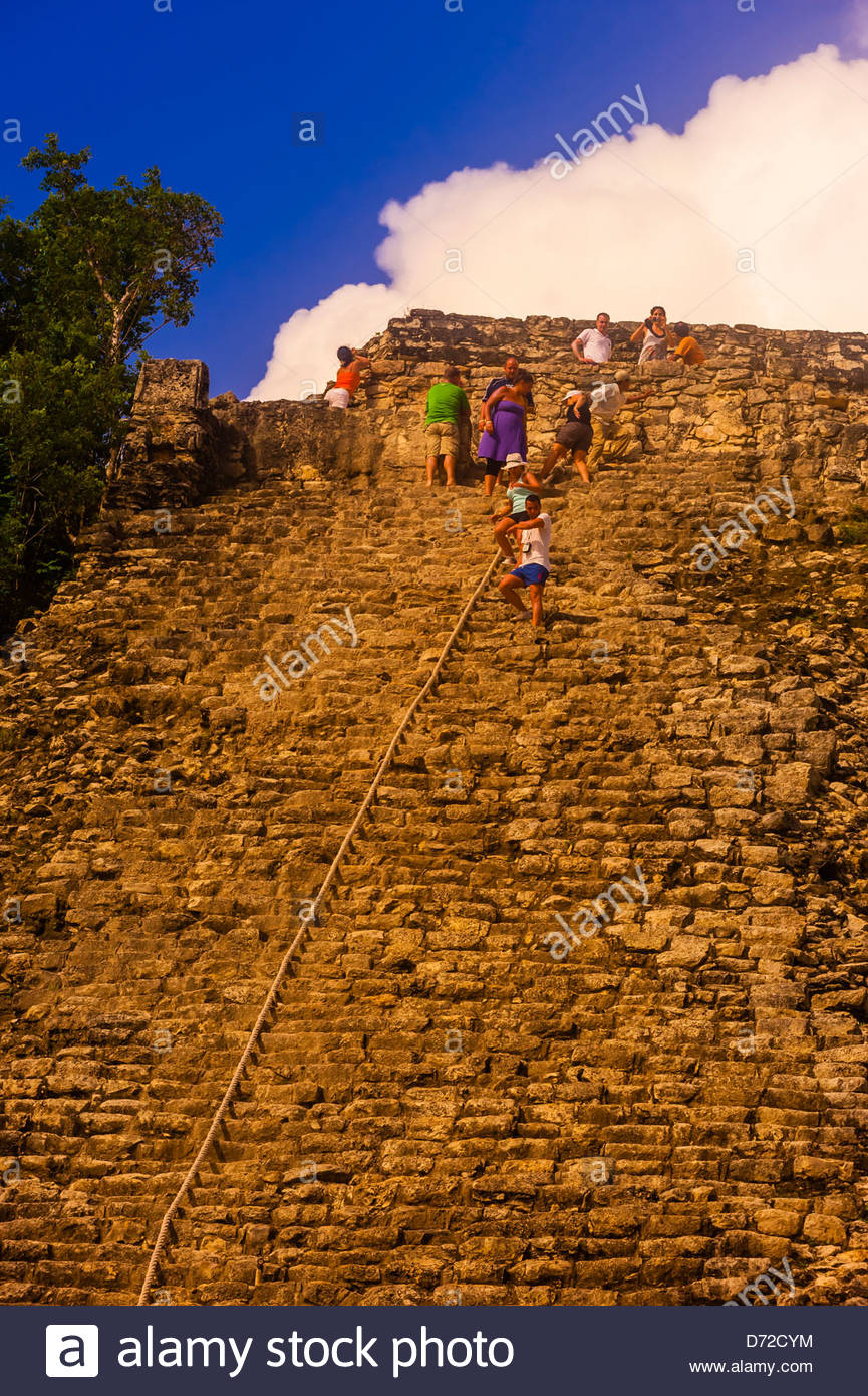 Nohoch Muul Temple, the tallest pyramid at the Coba archaeological site of Pre-Colombian Maya civilization, in the - Stock Image